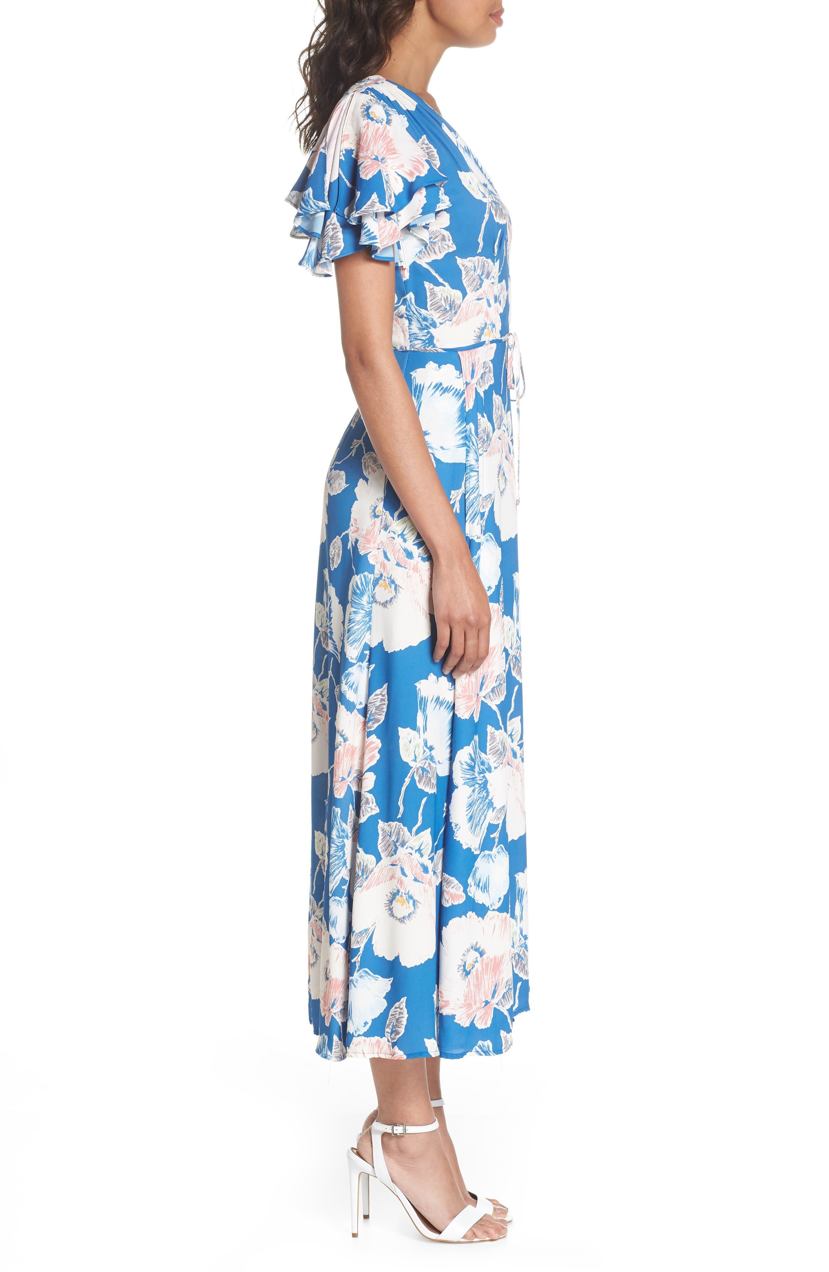 Cari Faux Wrap Crepe Dress,                             Alternate thumbnail 3, color,                             Vintage Blue