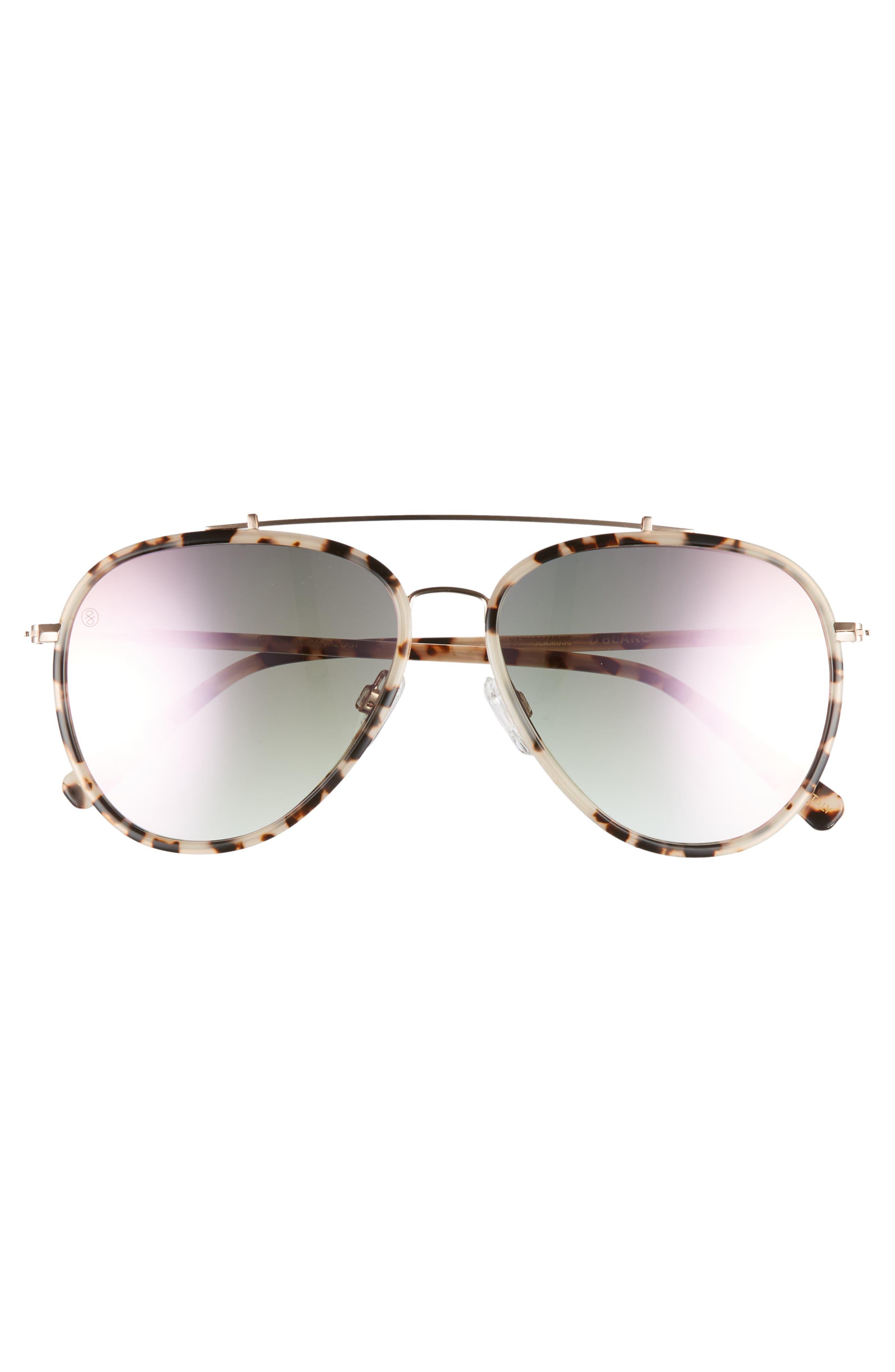 D'BLANC The Last 57mm Aviator Sunglasses,                             Alternate thumbnail 3, color,                             Snow Leopard/ Rose Flash