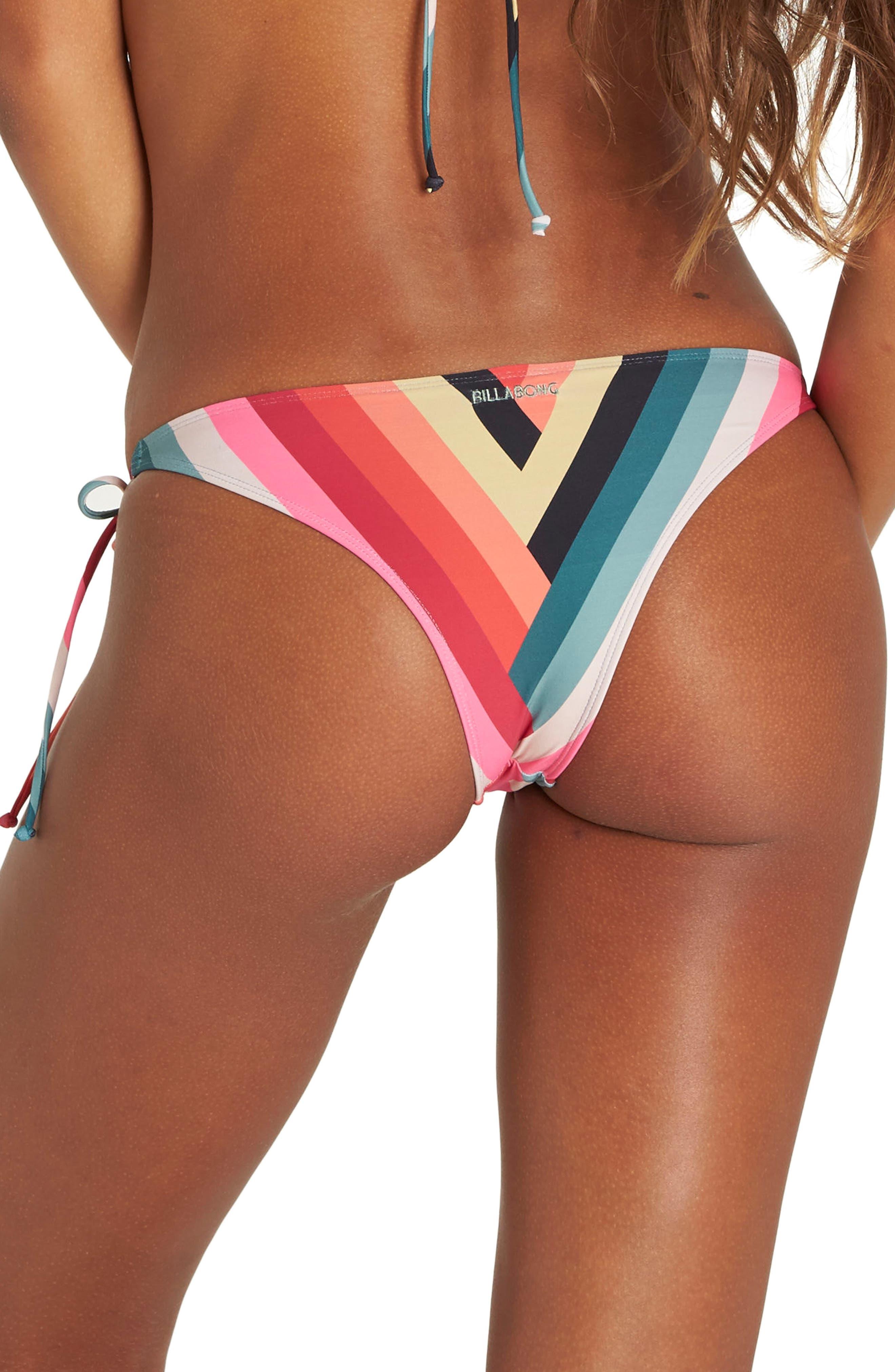 Color Spell Side Tie Bikini Bottoms,                             Alternate thumbnail 2, color,                             Red Multi