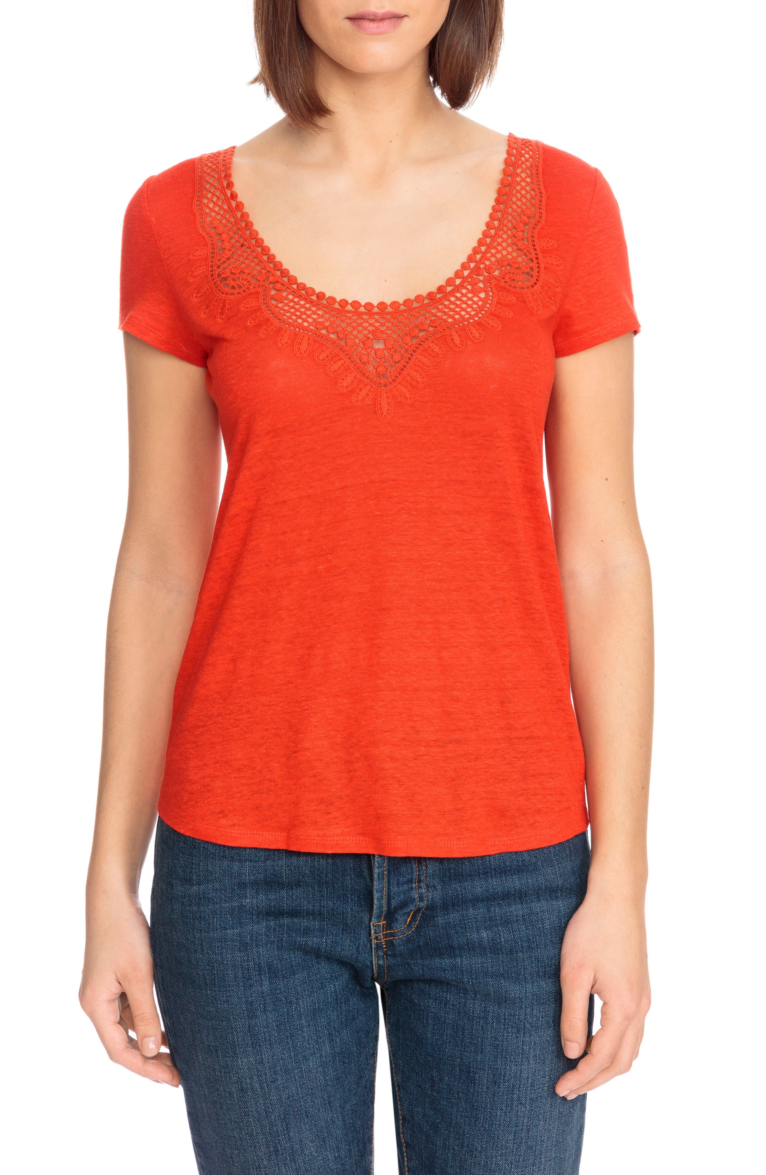 Loly Crochet Neck Linen Tee,                         Main,                         color, Coral Red