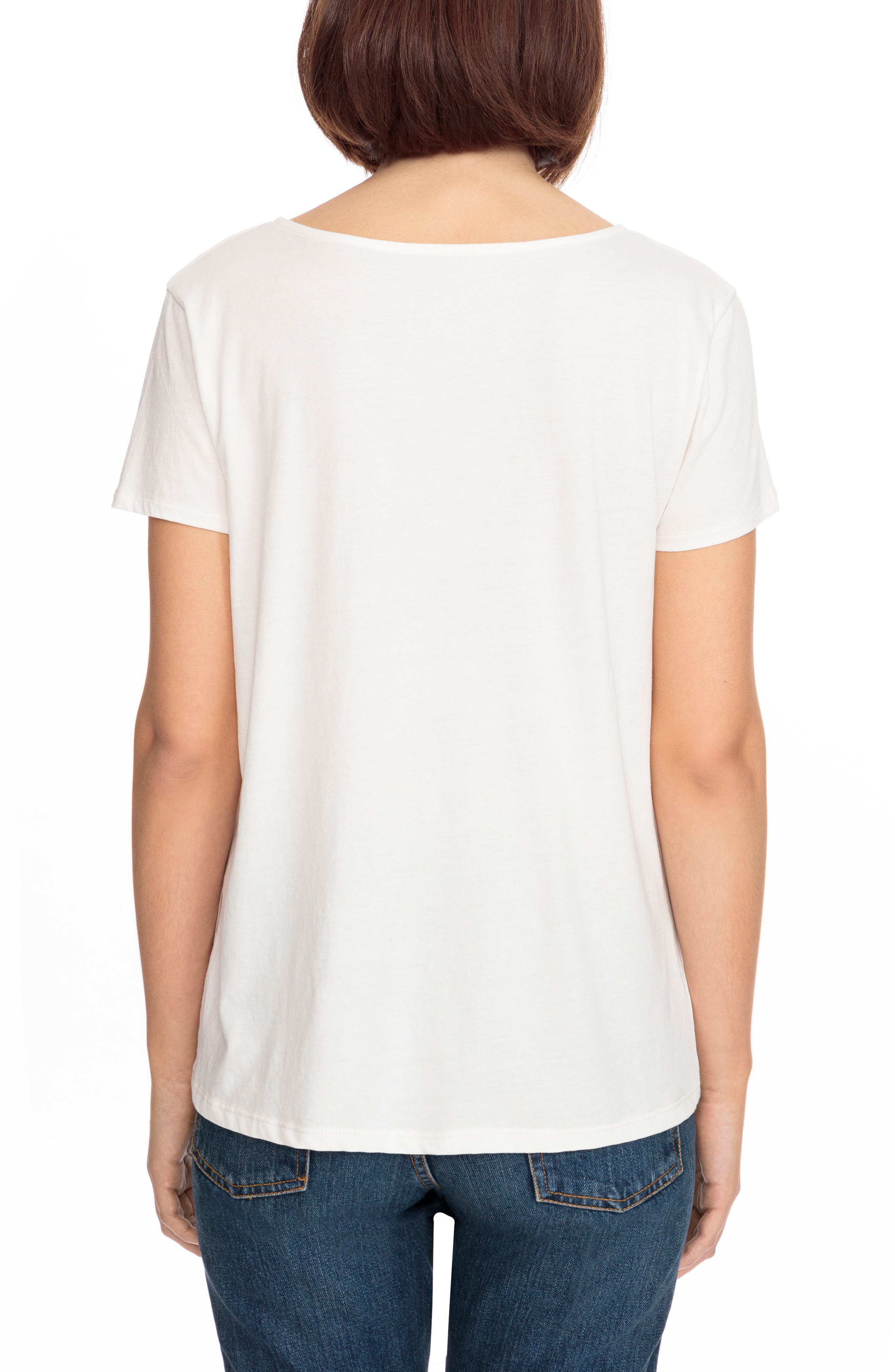 Lilian Tie Scoop Neck Tee,                             Alternate thumbnail 3, color,                             Off White