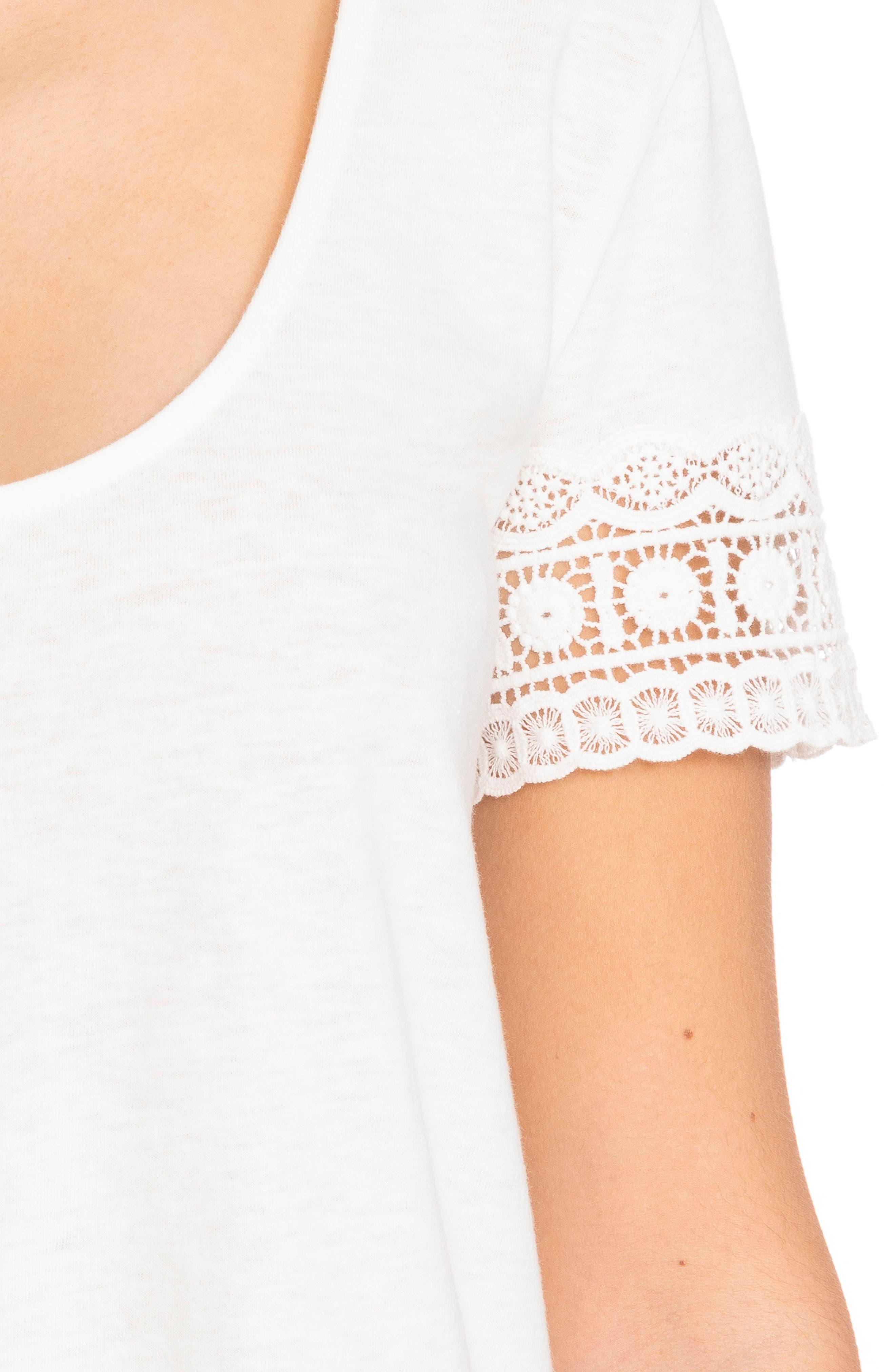 Levi Crochet Cuff Tee,                             Alternate thumbnail 6, color,                             Off White
