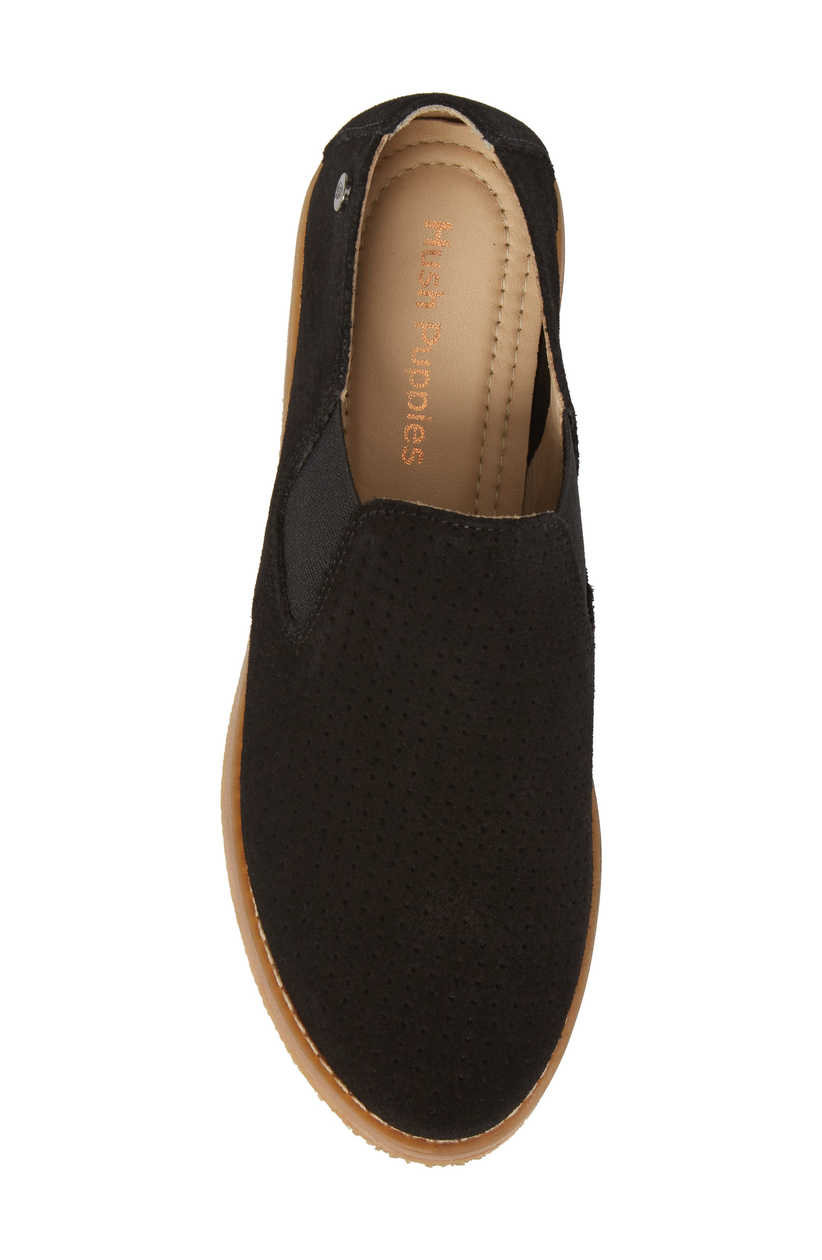 Hush Puppies Analise Clever Slip-On,                             Alternate thumbnail 5, color,                             Black Perforated Suede