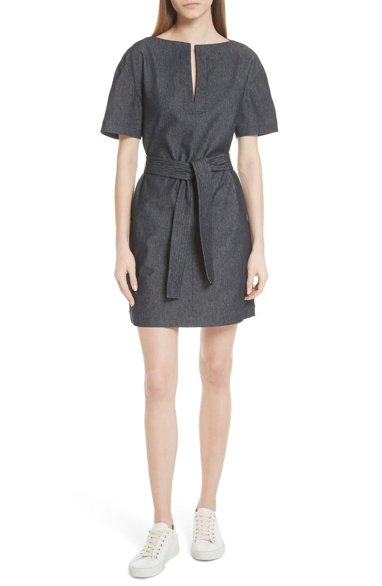 Belted Denim Shift Dress