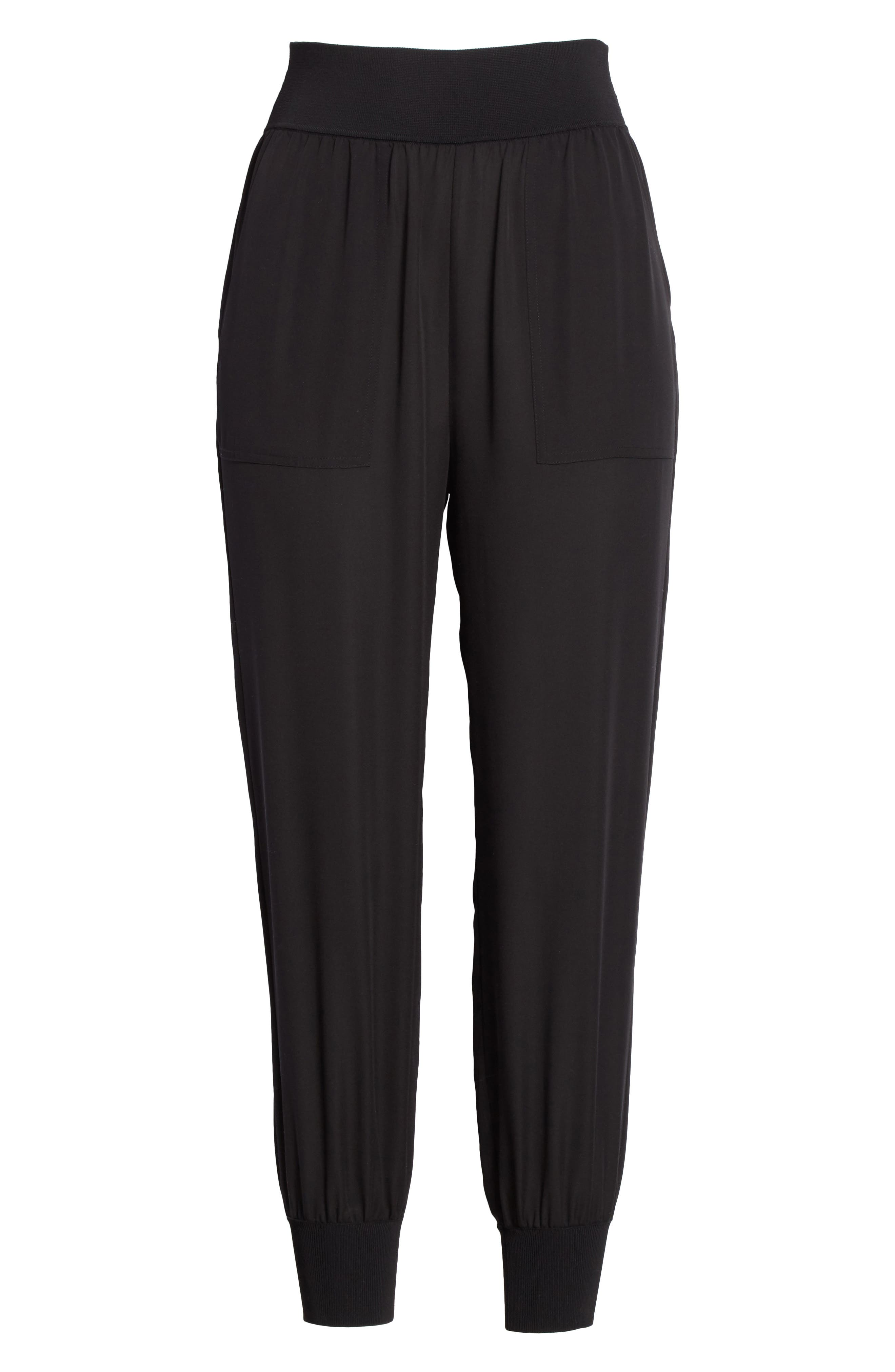 Silk Jogger Pants,                             Alternate thumbnail 6, color,                             Black