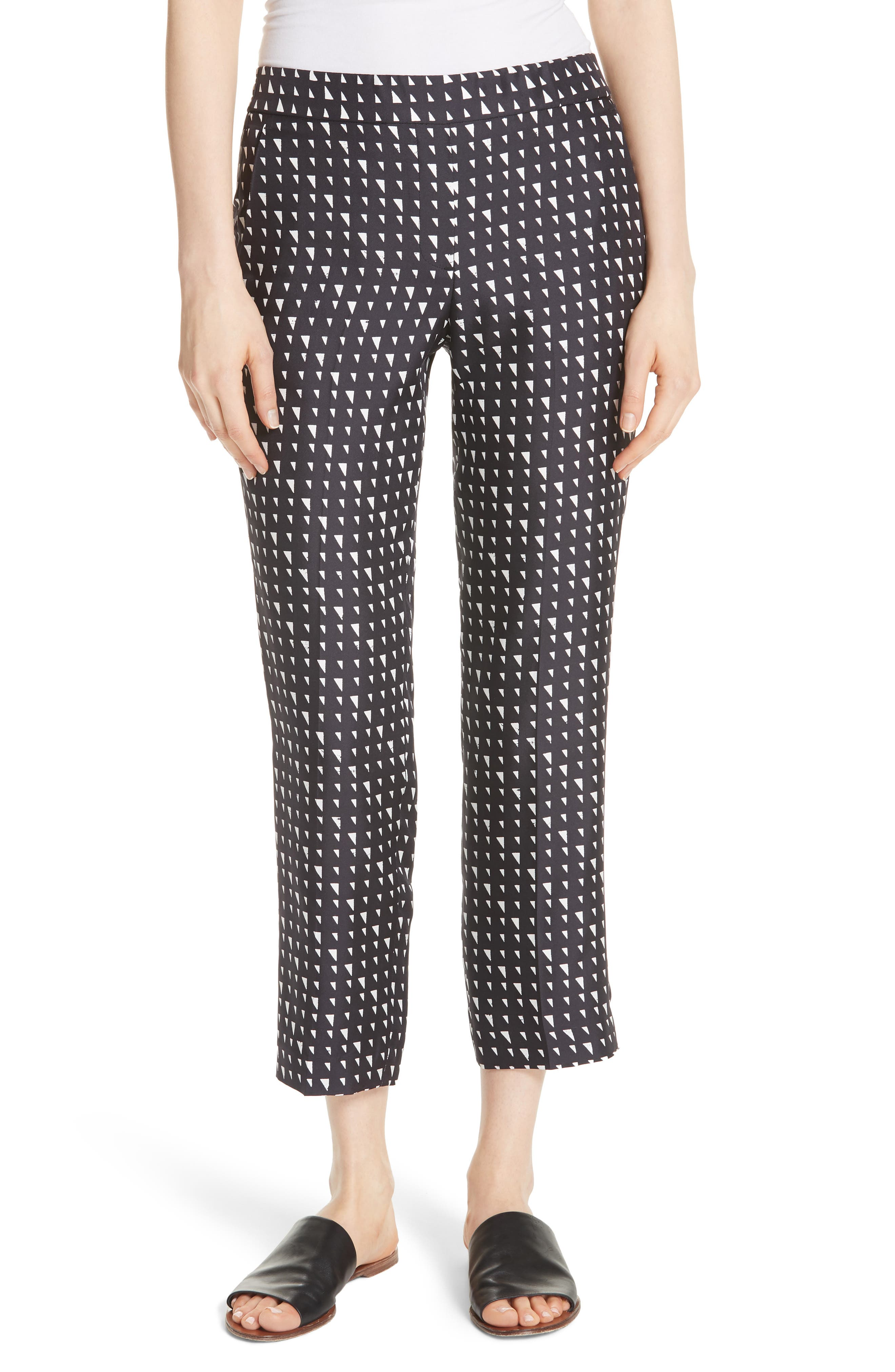 Pull On Silk Trousers,                         Main,                         color, Black/ Ivory