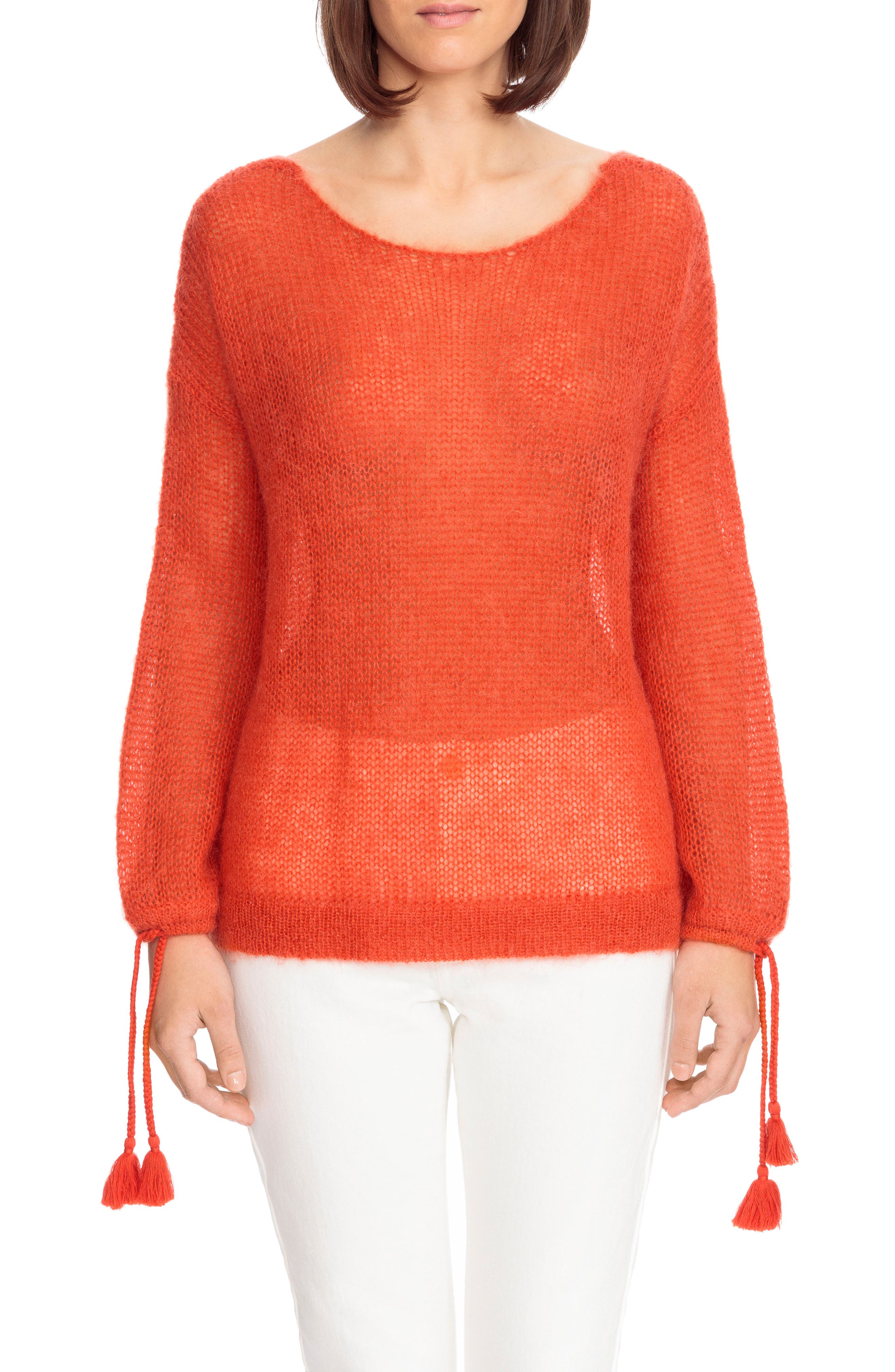 Dicky Tie Cuff Sweater,                         Main,                         color, Orange Red