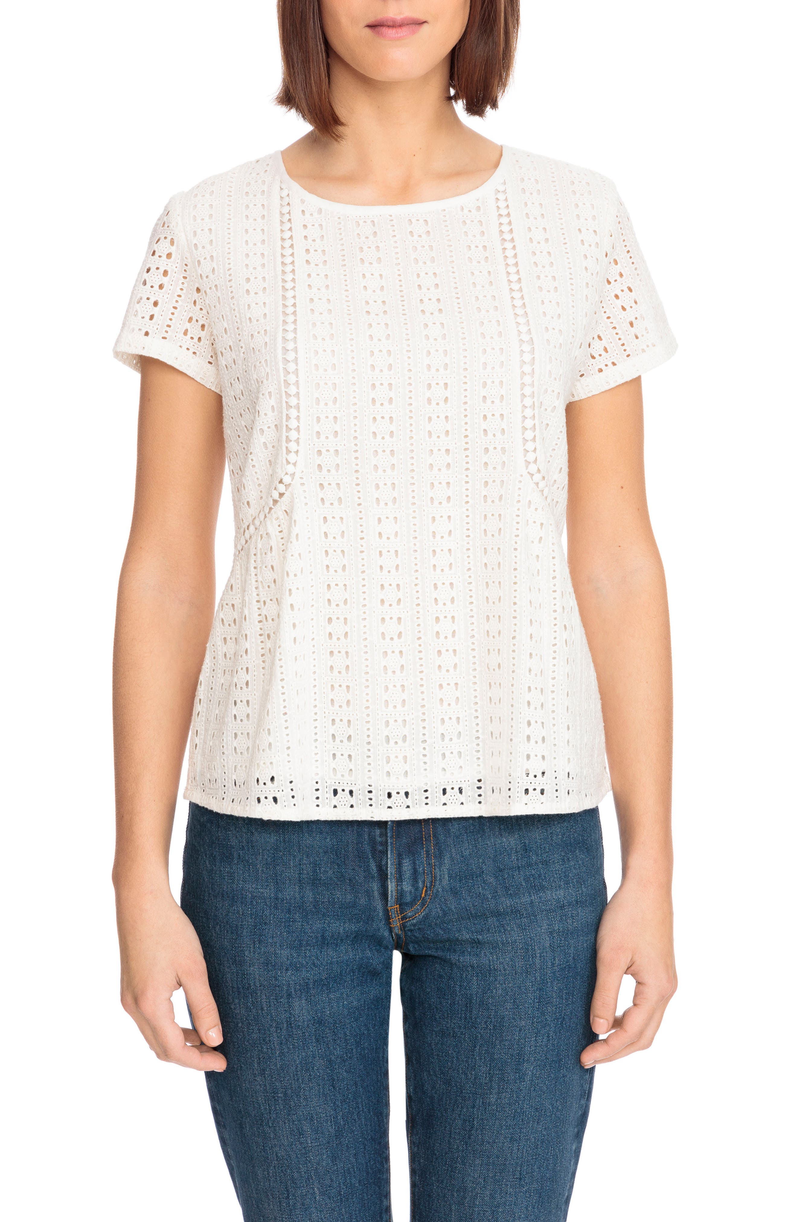 Clo Crochet Blouse,                             Main thumbnail 1, color,                             Off White