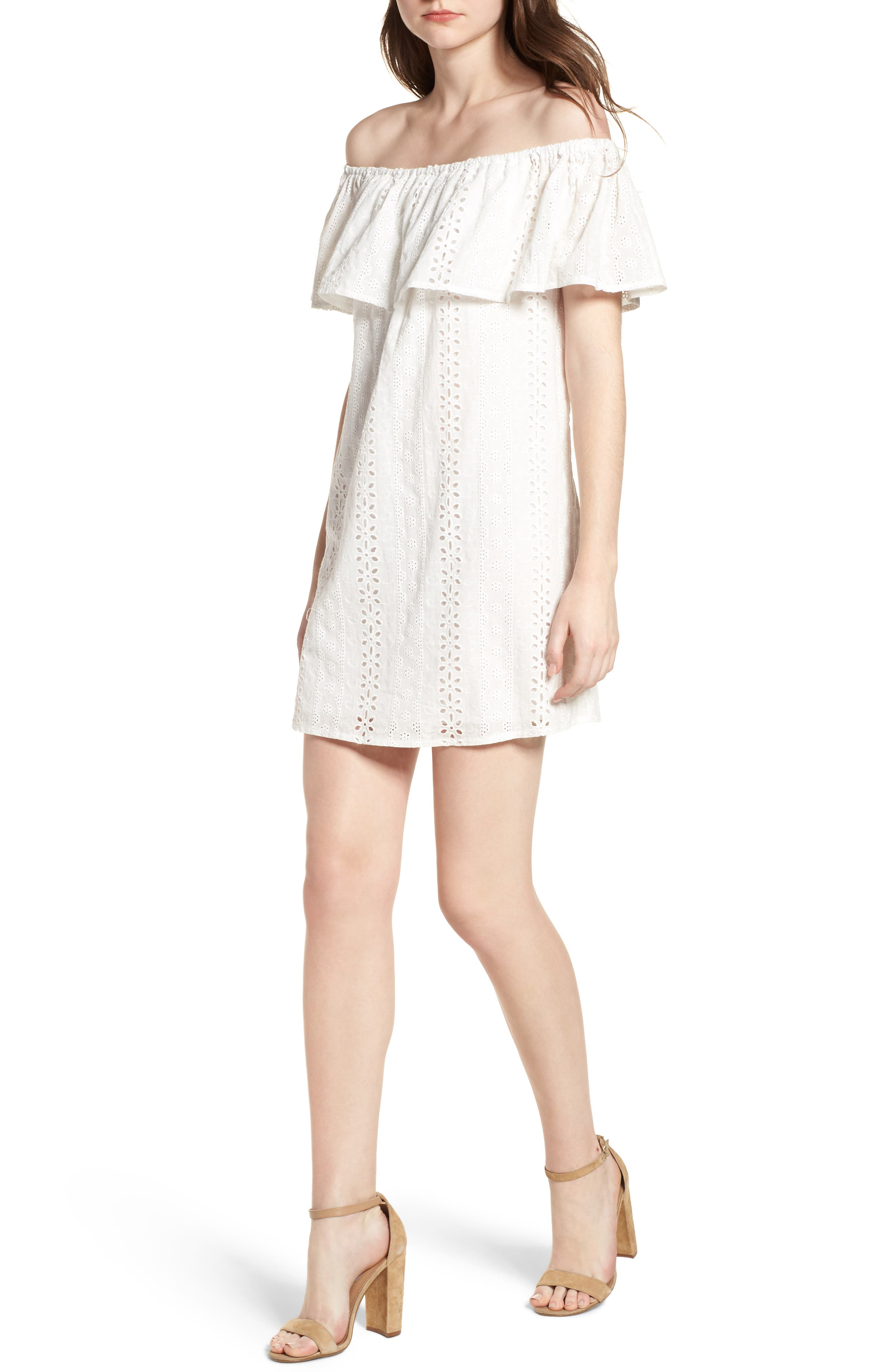 Bishop + Young Eyelet Ruffle Off the Shoulder Dress,                             Main thumbnail 1, color,                             White