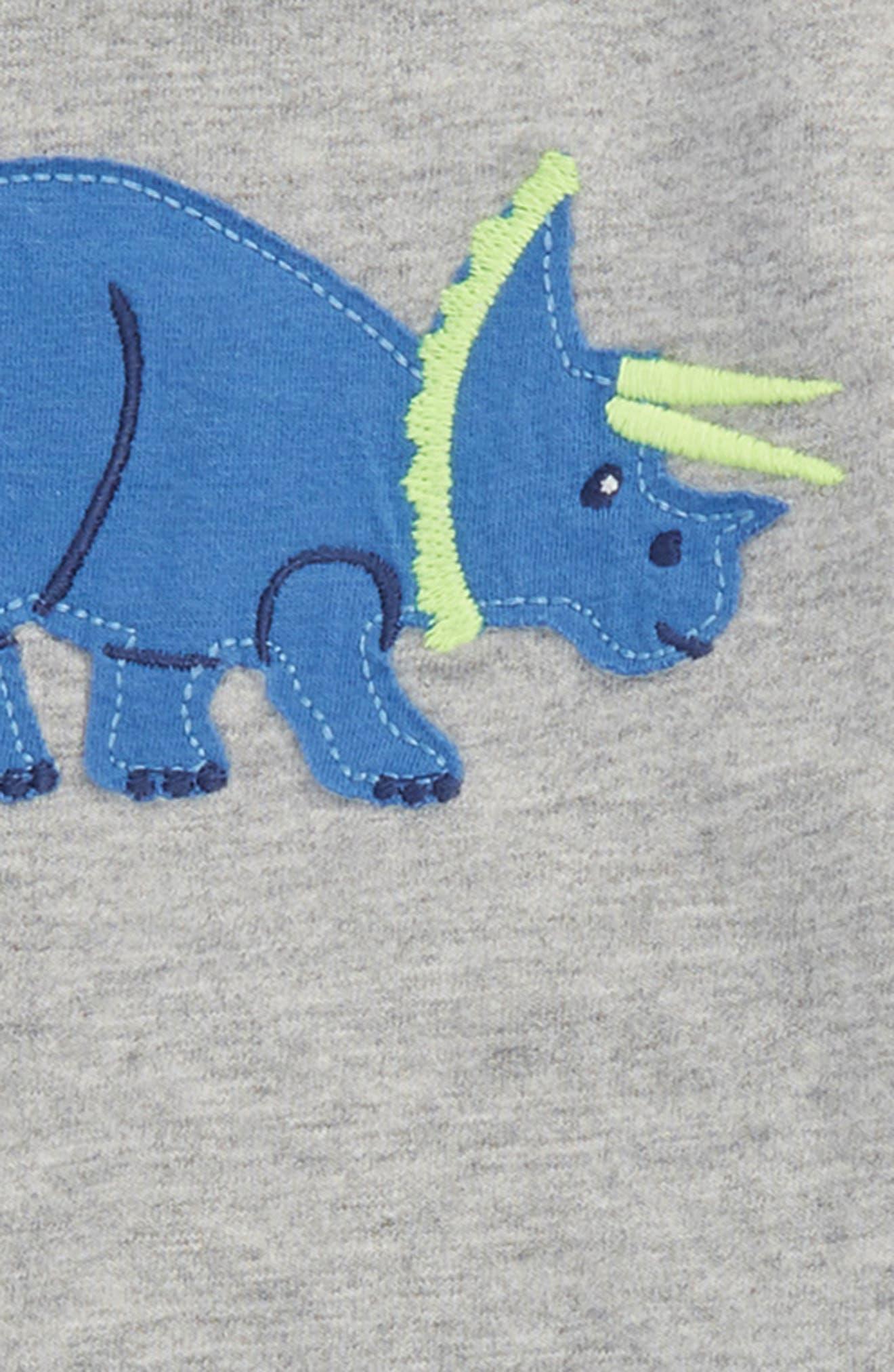 Dino Appliqué T-Shirt & Shorts Set,                             Alternate thumbnail 2, color,                             Grey Marl