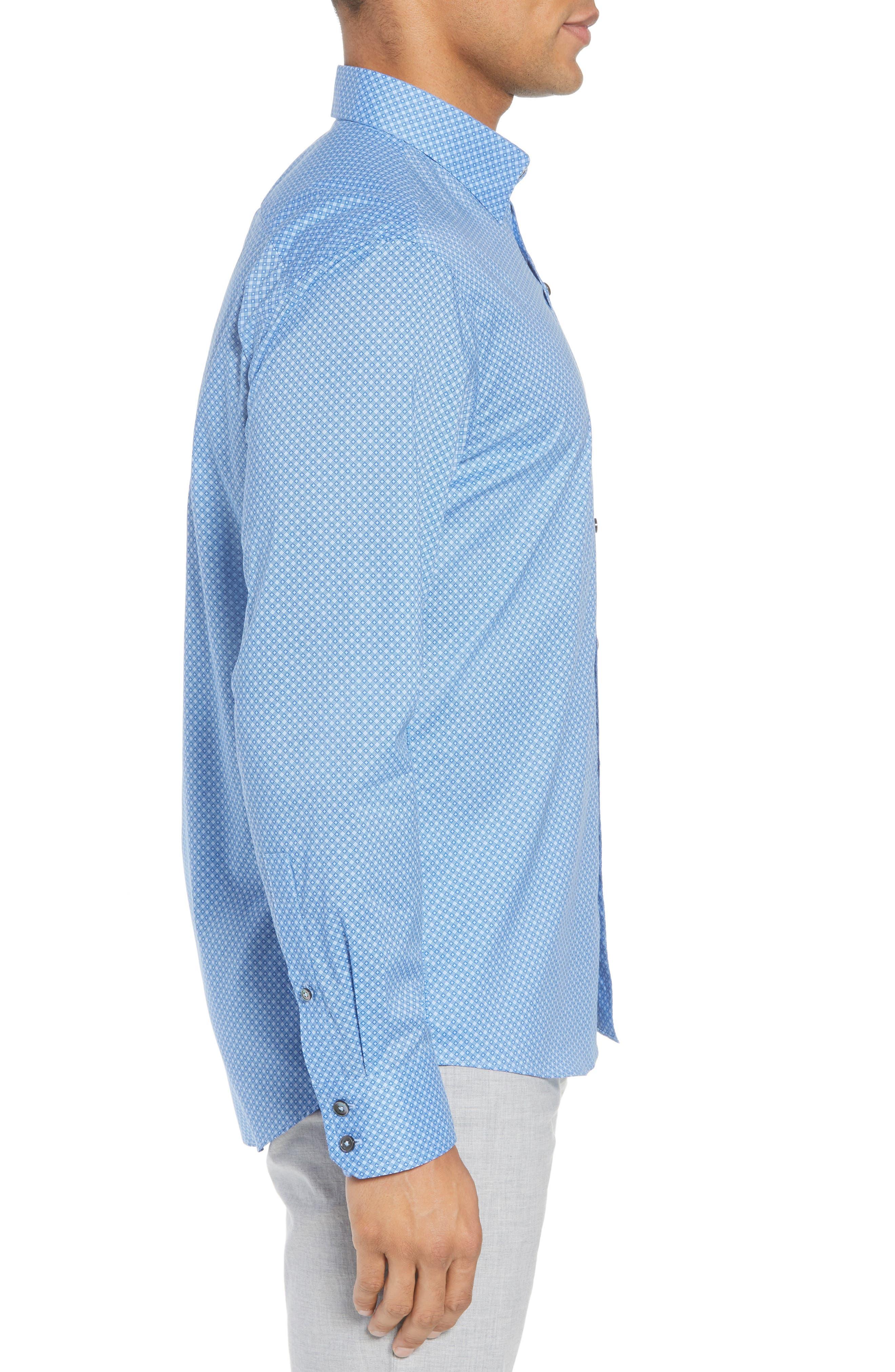 Ethan Slim Fit Sport Shirt,                             Alternate thumbnail 3, color,                             Blue