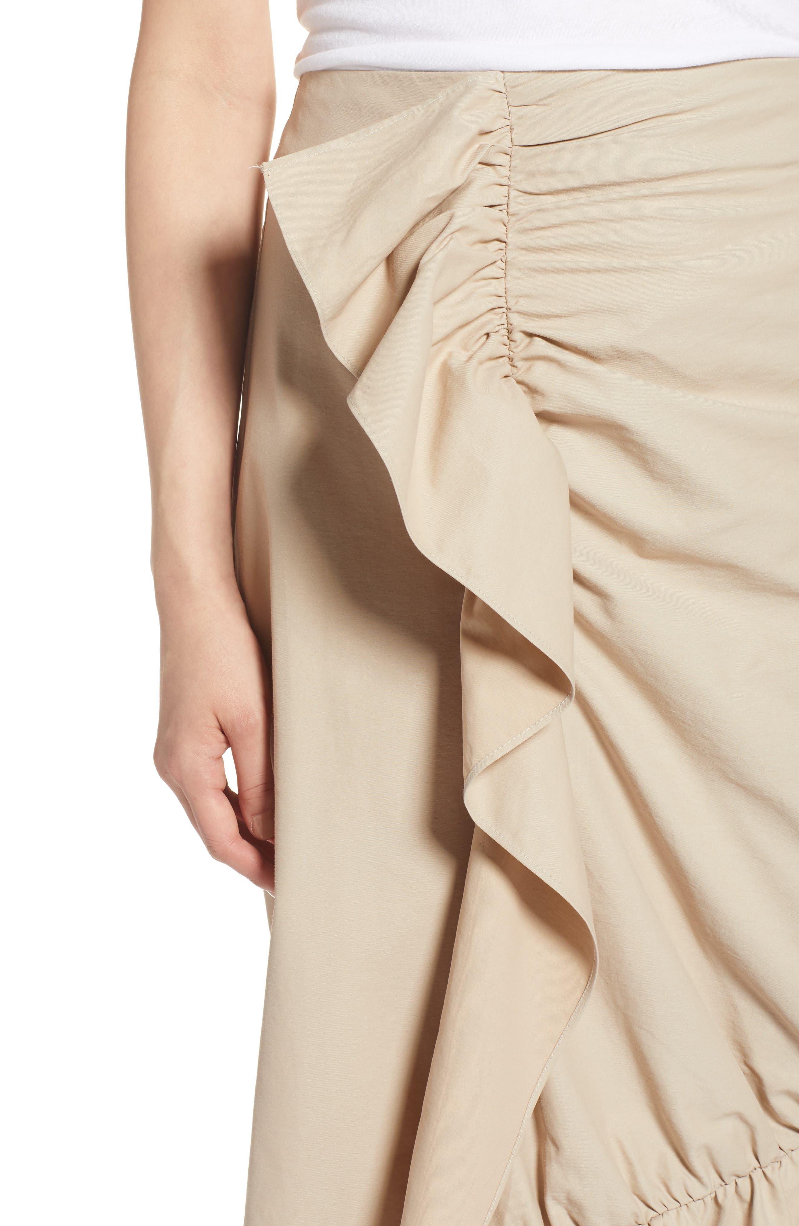 Ruffle Front Skirt,                             Alternate thumbnail 4, color,                             Tan Thread