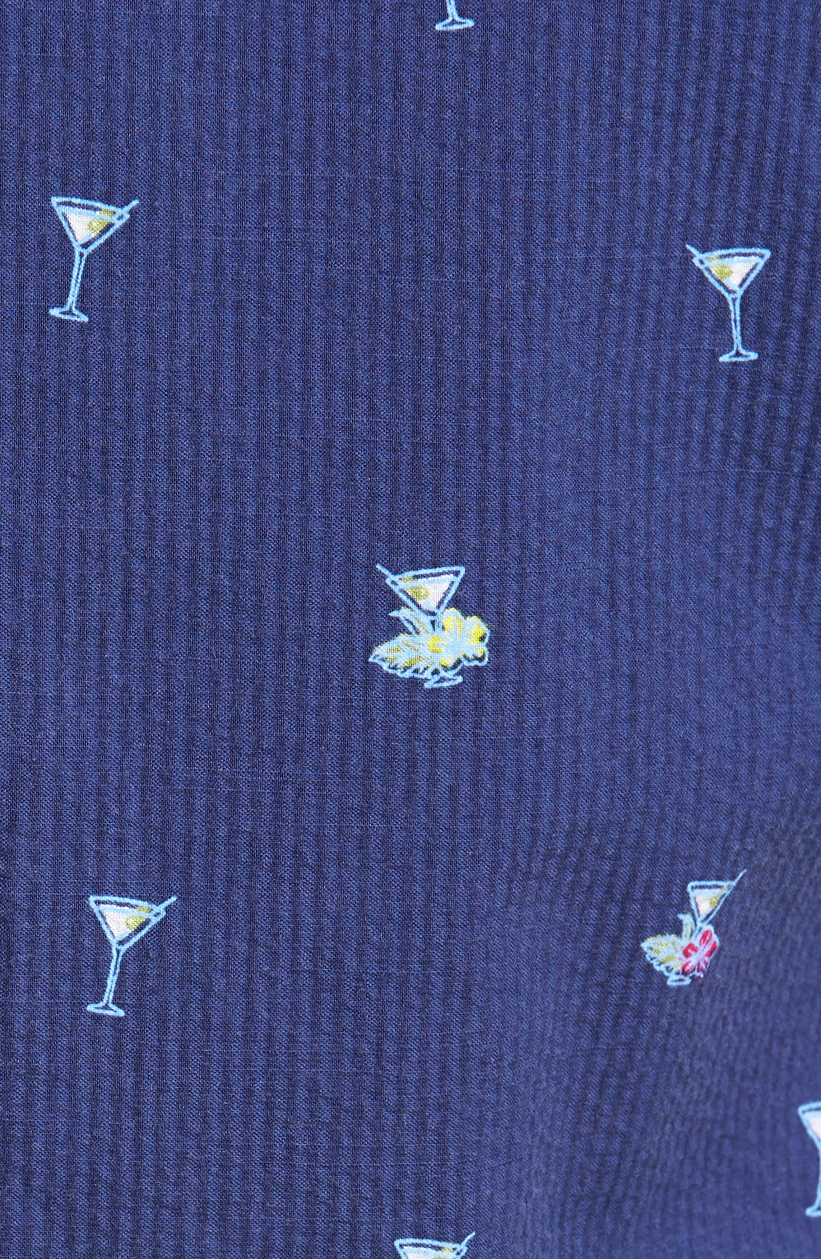 Mix Master Seersucker Shirt,                             Alternate thumbnail 5, color,                             Ocean Deep