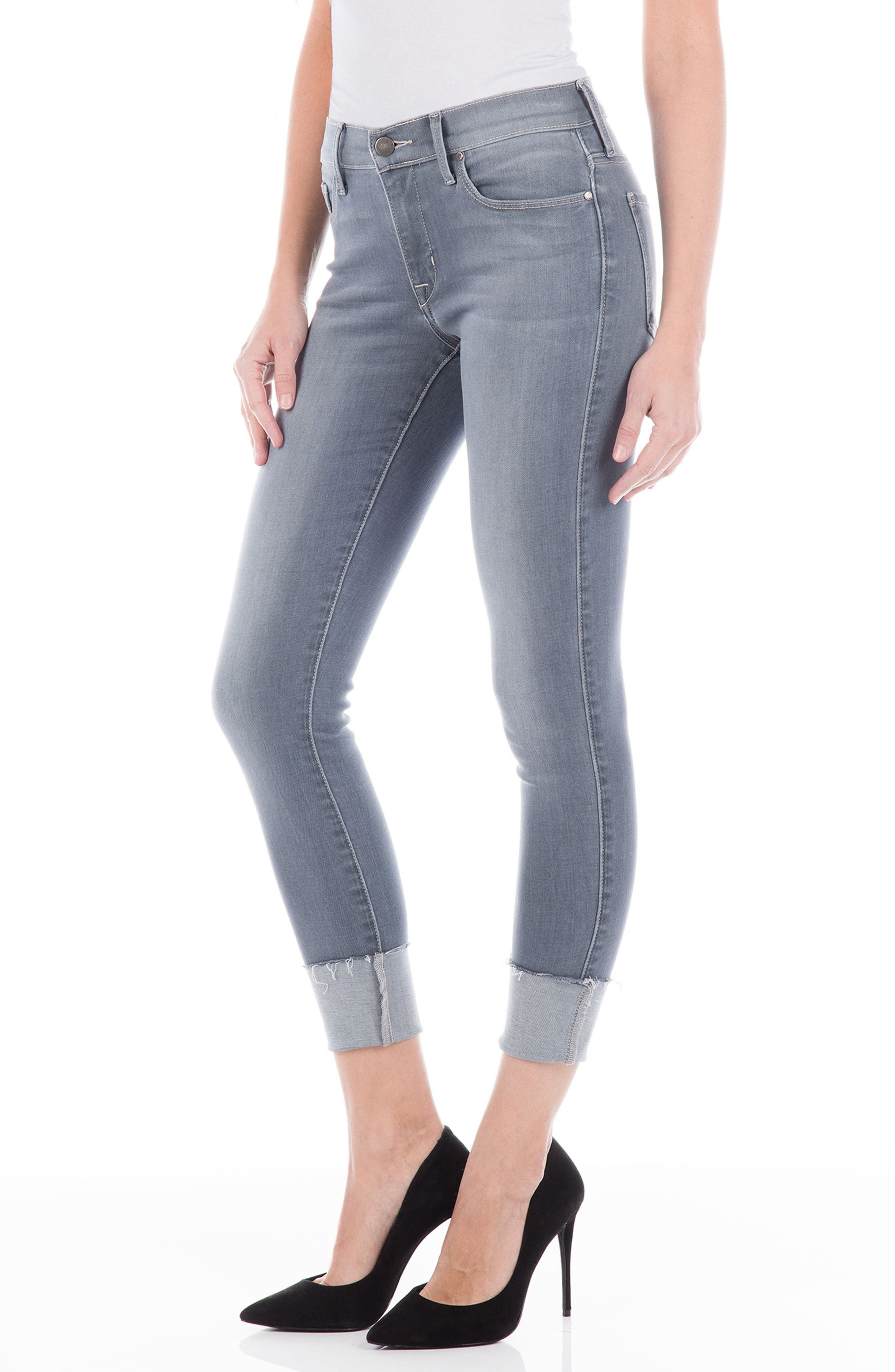 Belvedere Crop Skinny Jeans,                             Alternate thumbnail 3, color,                             Chrome