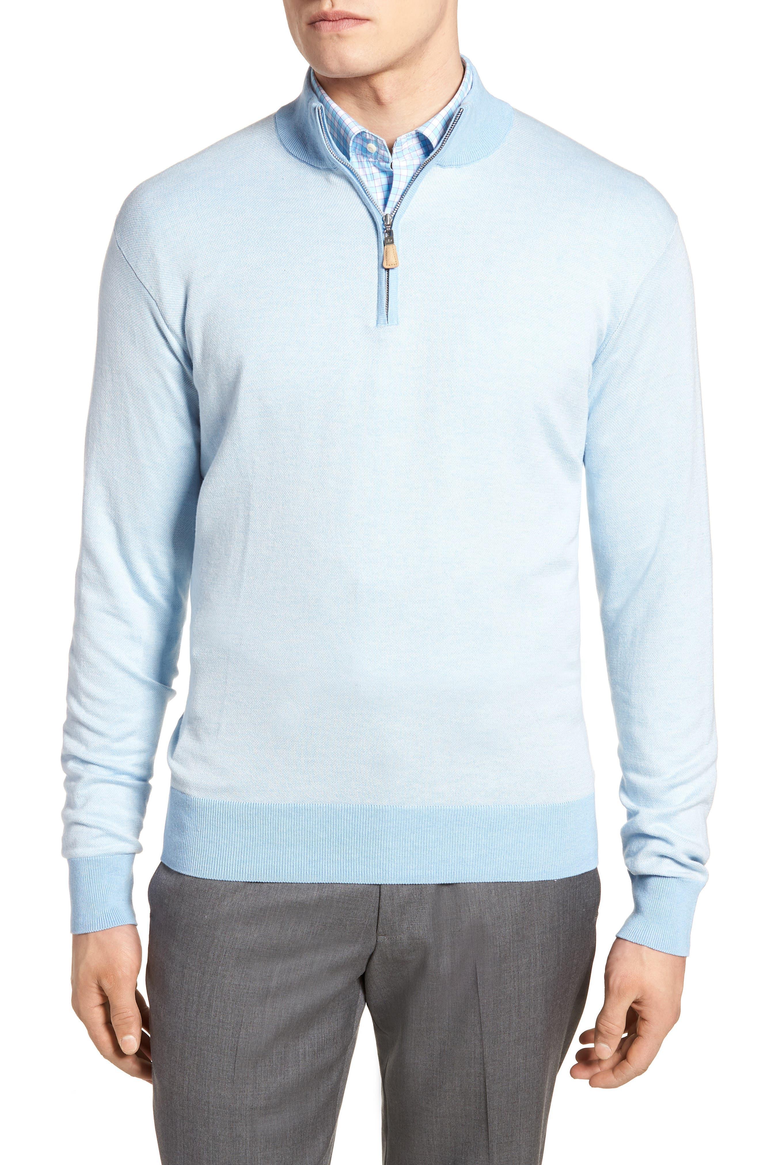Crown Bird's Eye Cotton & Silk Quarter Zip Sweater,                             Main thumbnail 1, color,                             Tarheel Blue