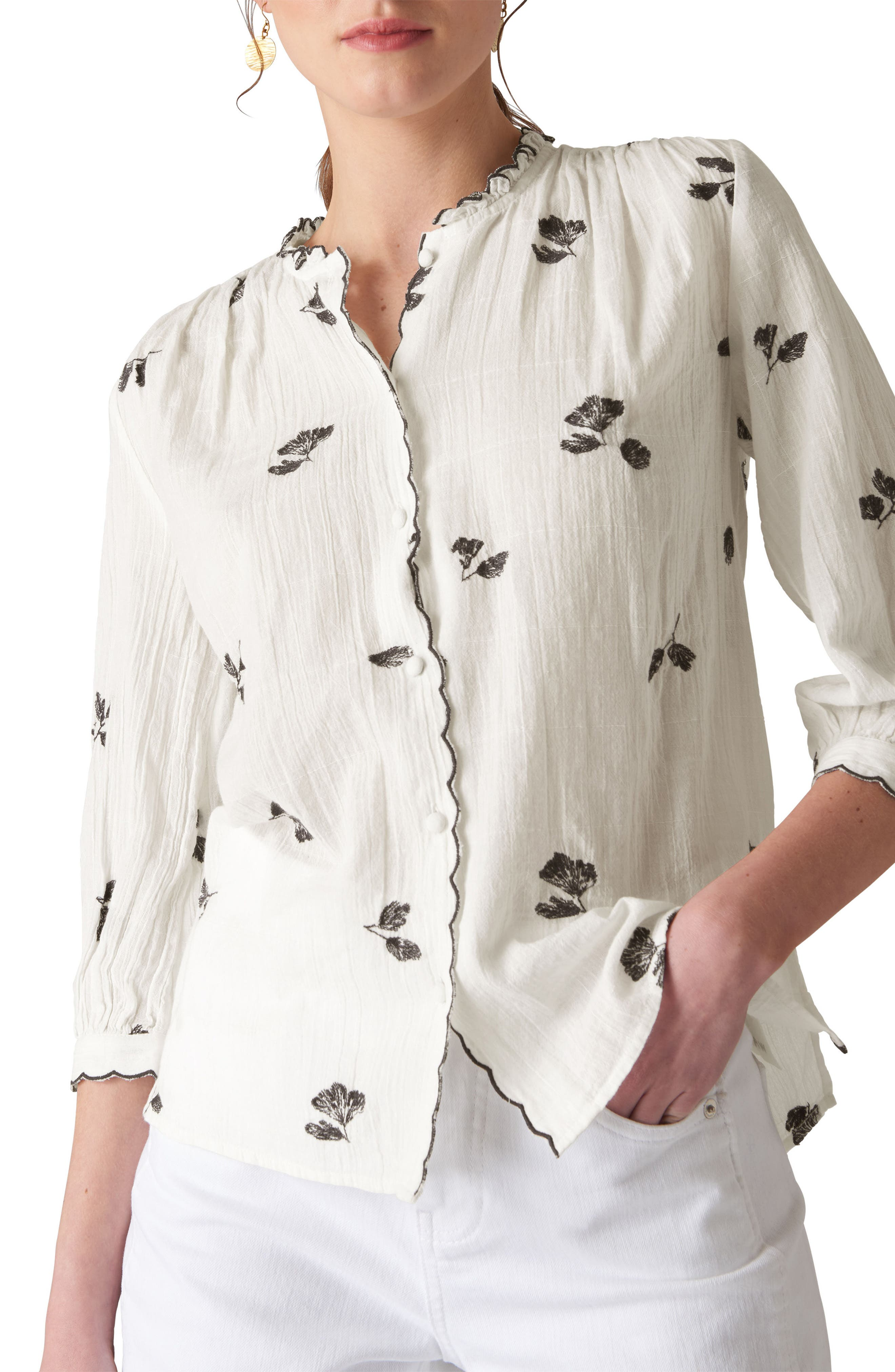 Gauzy Floral Button Front Shirt,                         Main,                         color, Ivory