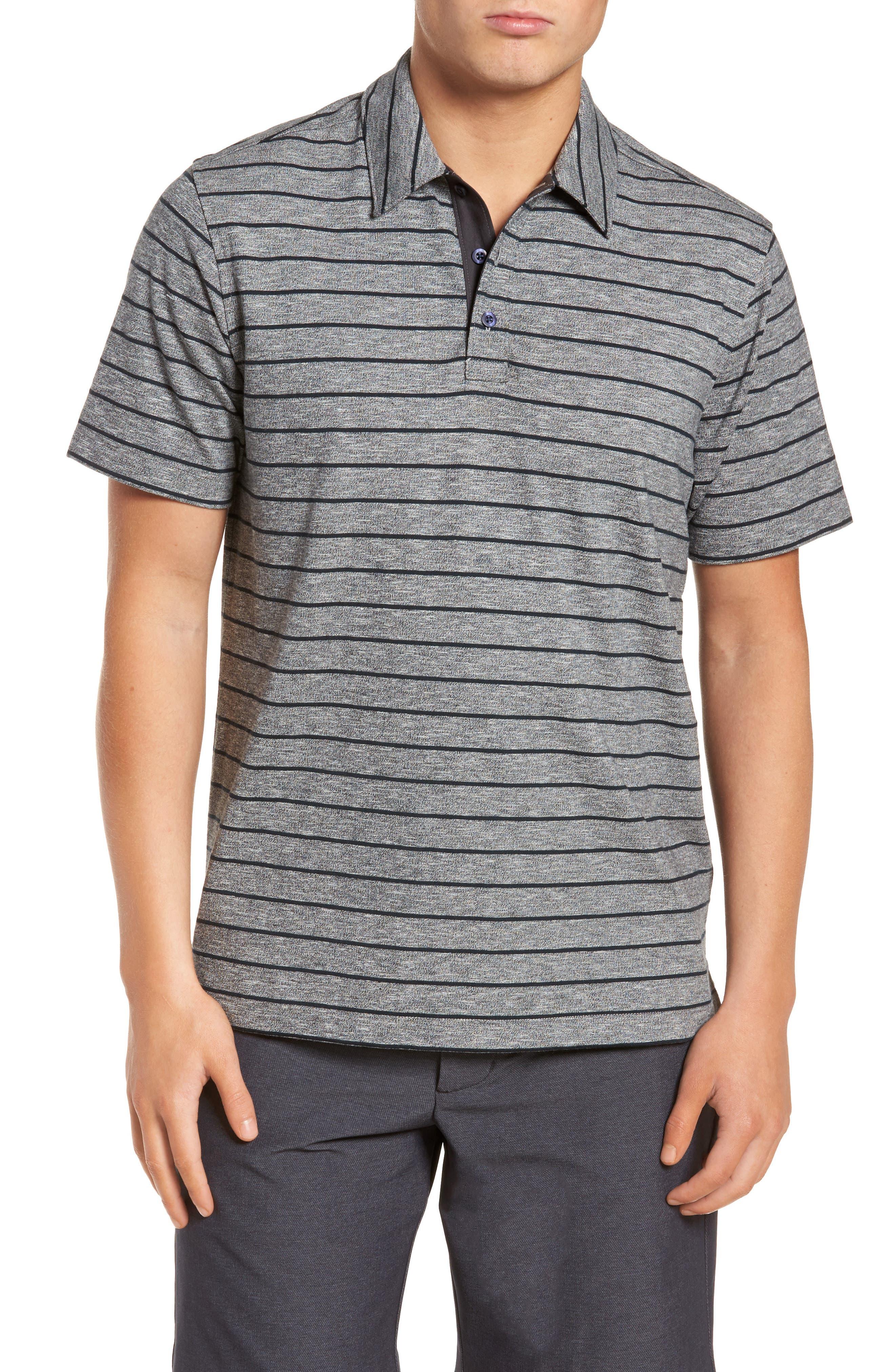 Stripe Polo,                         Main,                         color, Grey Heather Navy Stripe