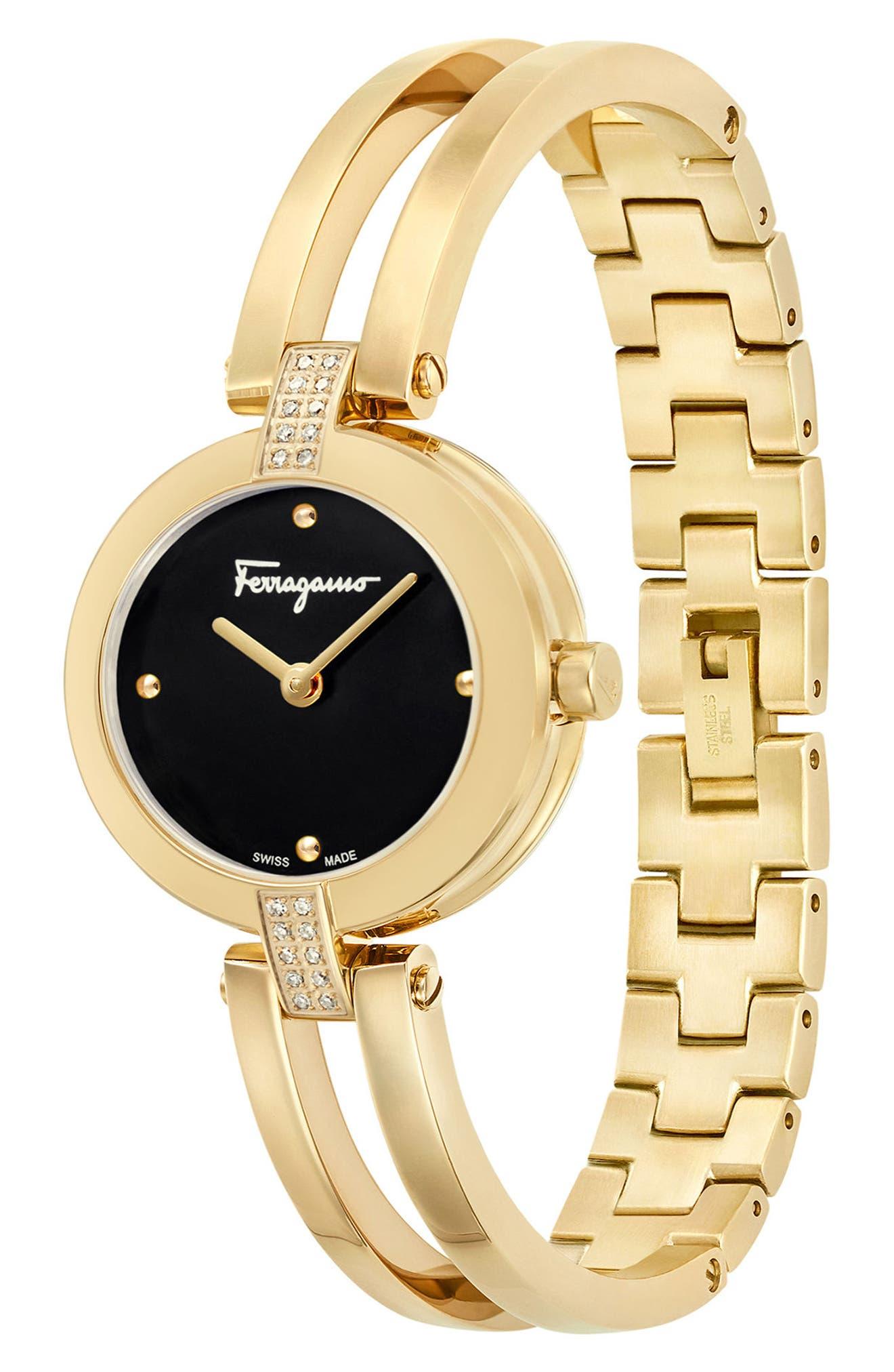 Miniature Bracelet Watch, 26mm,                             Alternate thumbnail 4, color,                             Gold/ Black/ Gold