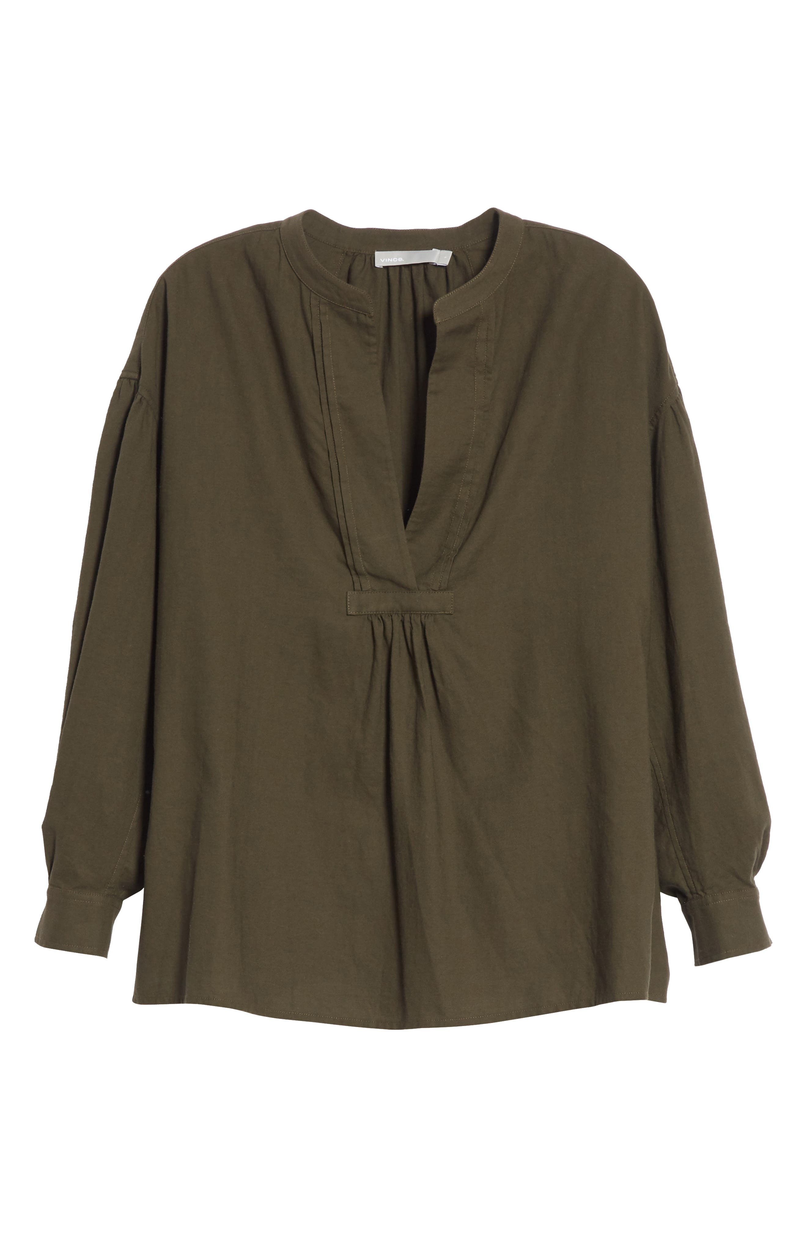 Shirred Cotton Blouse,                             Alternate thumbnail 6, color,                             Pinon Green