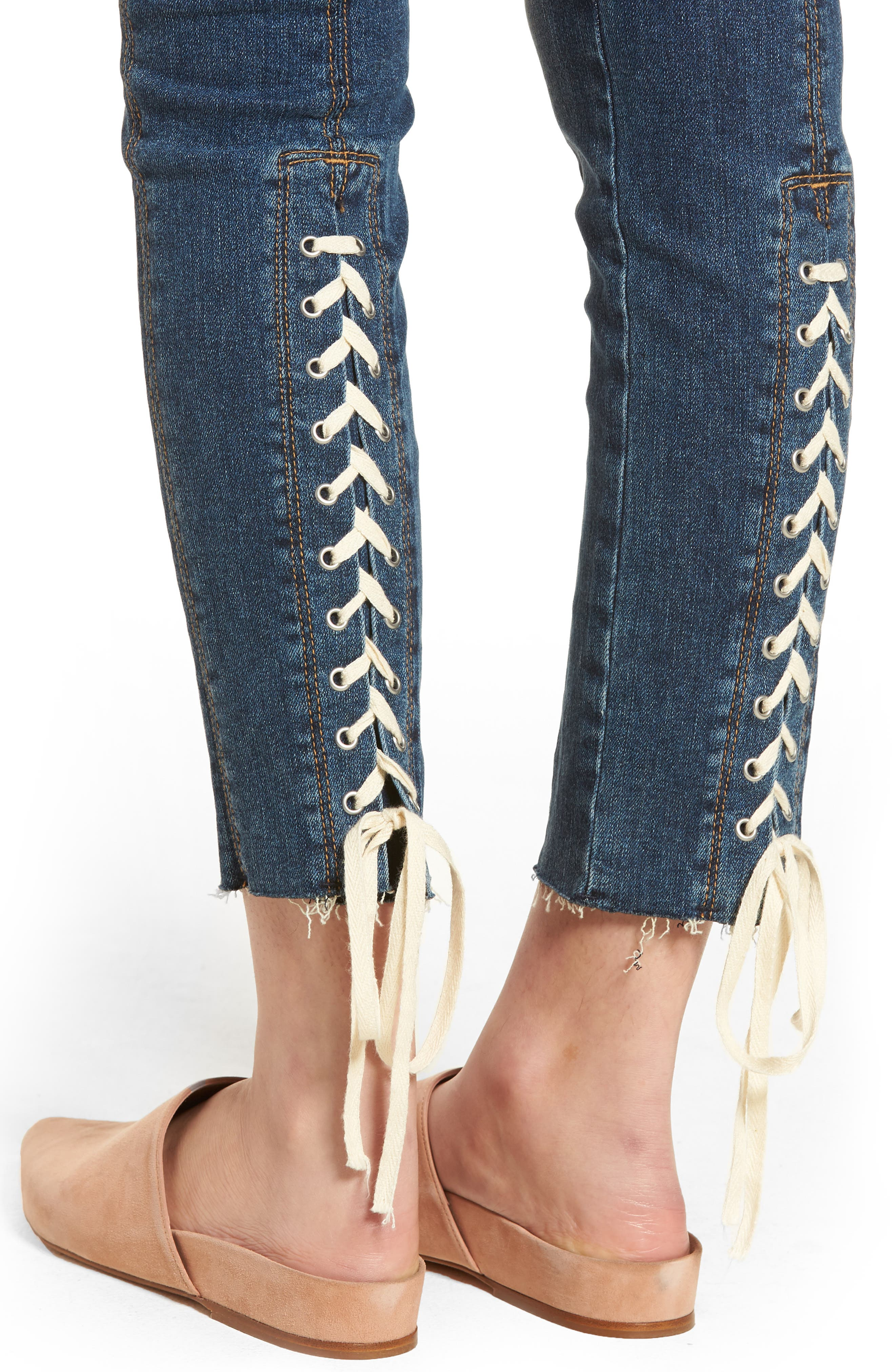 Nico Lace-Up Crop Skinny Jeans,                             Alternate thumbnail 4, color,                             Unfamed