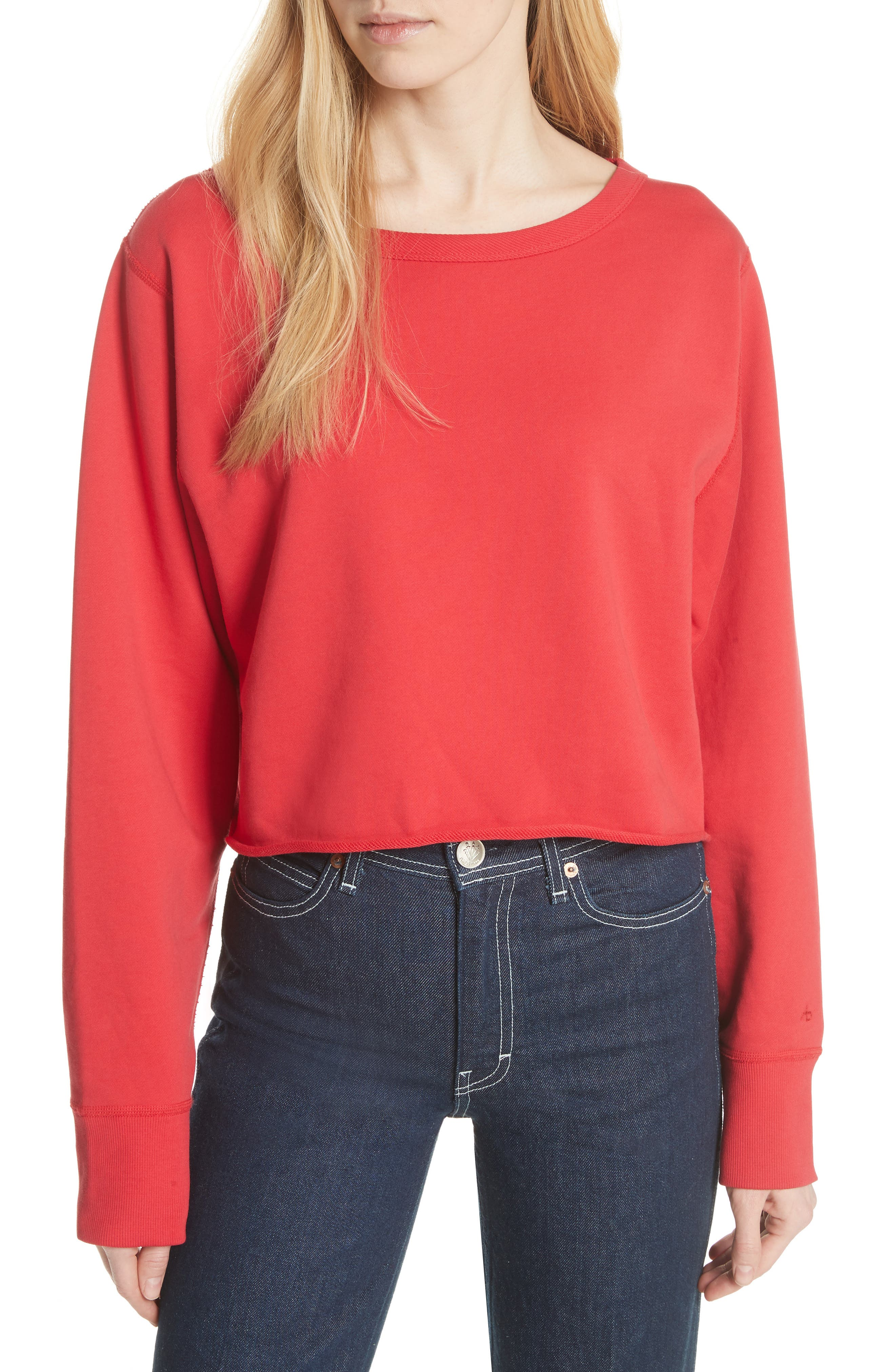Crop Pullover,                             Main thumbnail 1, color,                             True Red