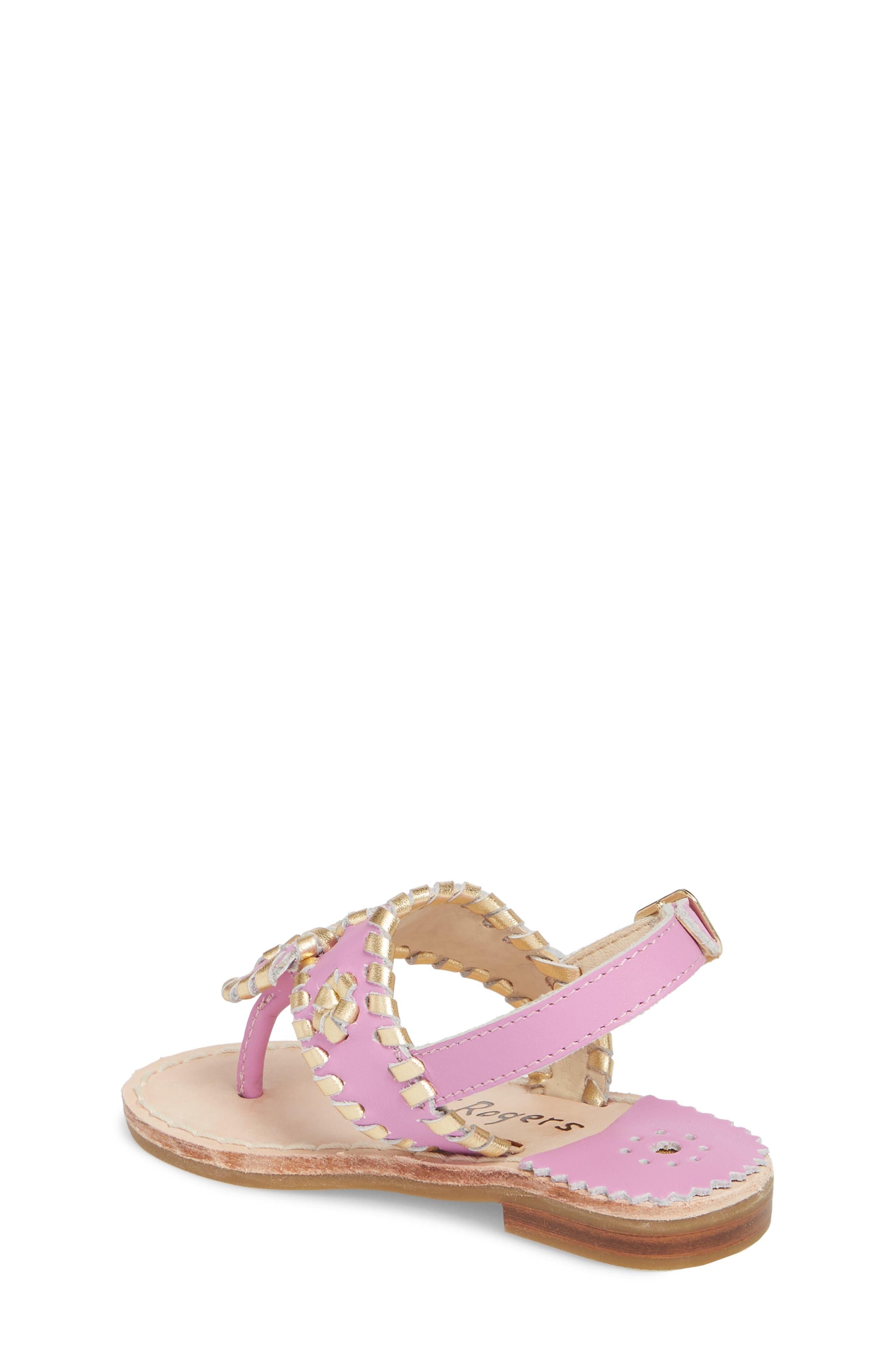 Little Miss Hollis Metallic Trim Sandal,                             Alternate thumbnail 2, color,                             Lavender Pink/ Gold Leather