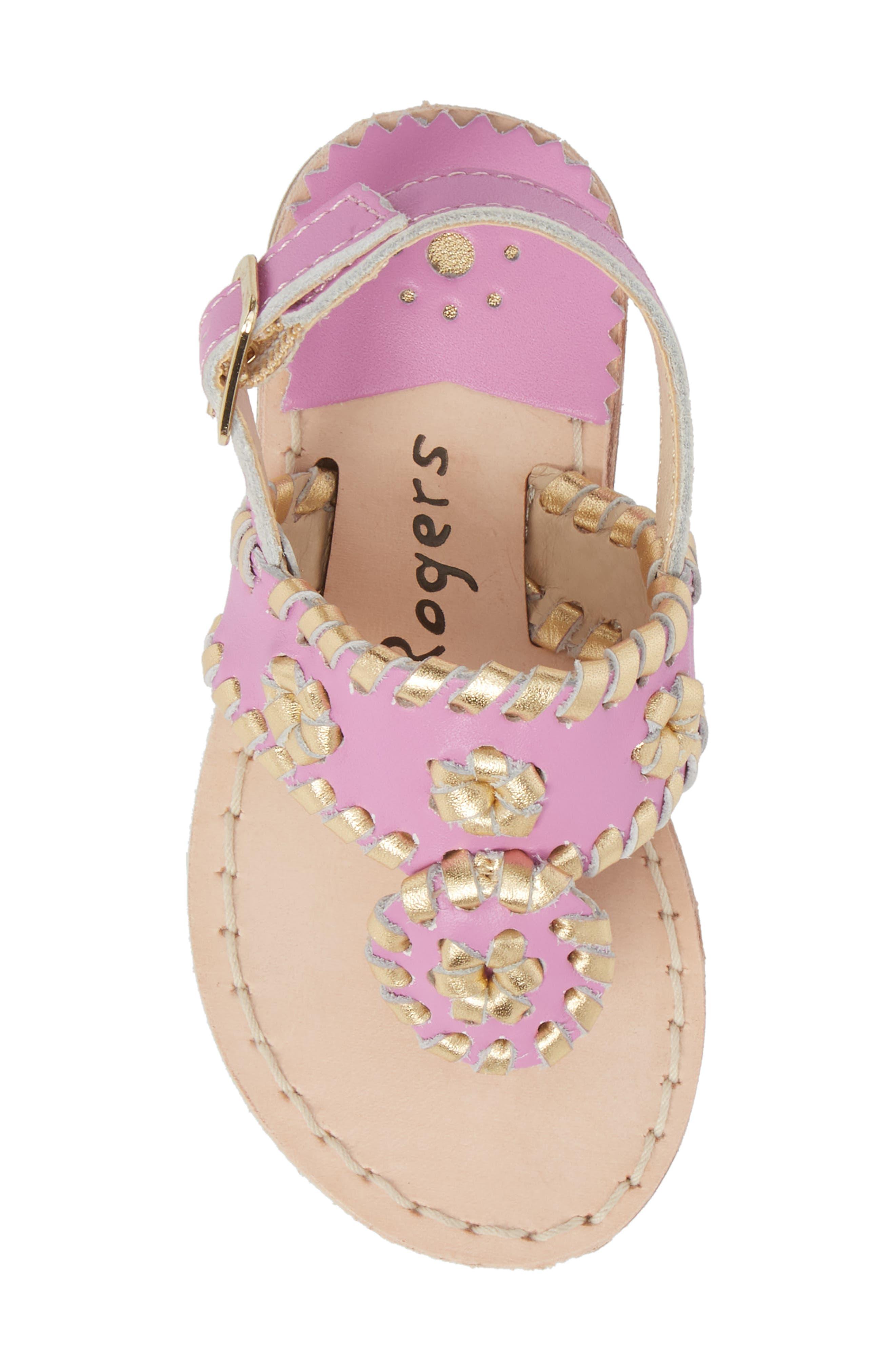 Little Miss Hollis Metallic Trim Sandal,                             Alternate thumbnail 5, color,                             Lavender Pink/ Gold Leather