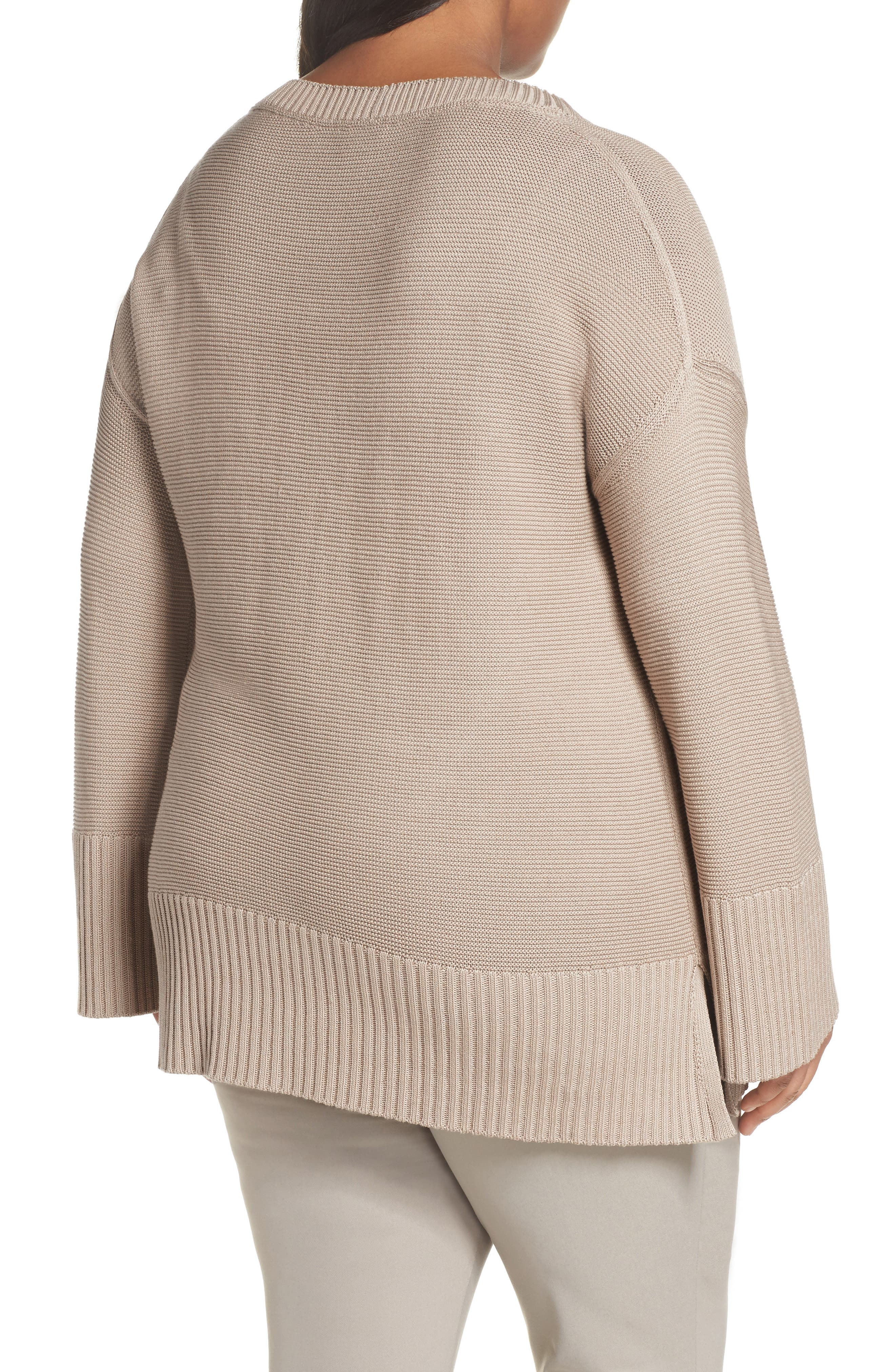 Lafayette 148 Silk and Cotton Sweater,                             Alternate thumbnail 2, color,                             Khaki