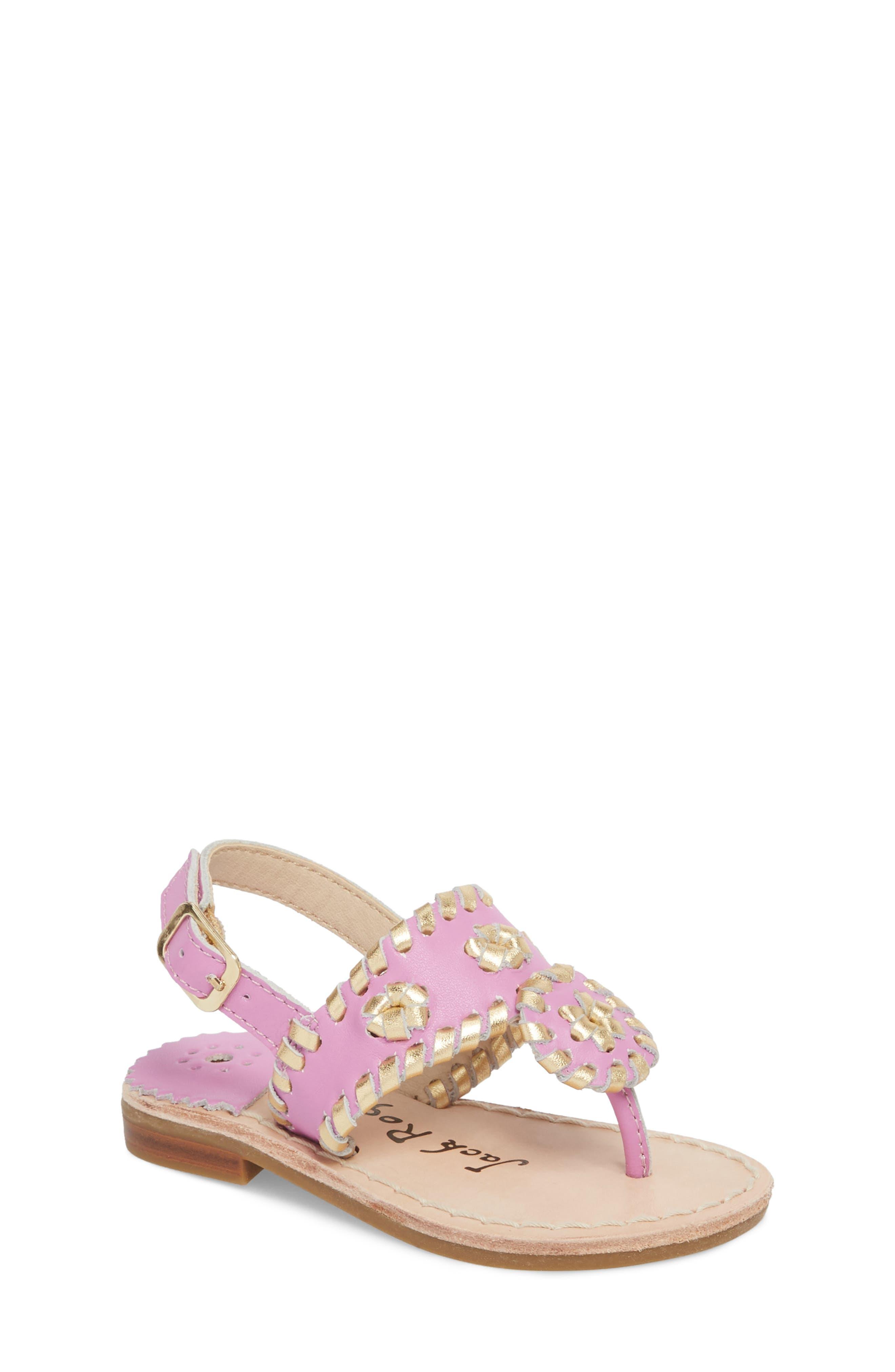 Little Miss Hollis Metallic Trim Sandal,                             Main thumbnail 1, color,                             Lavender Pink/ Gold Leather