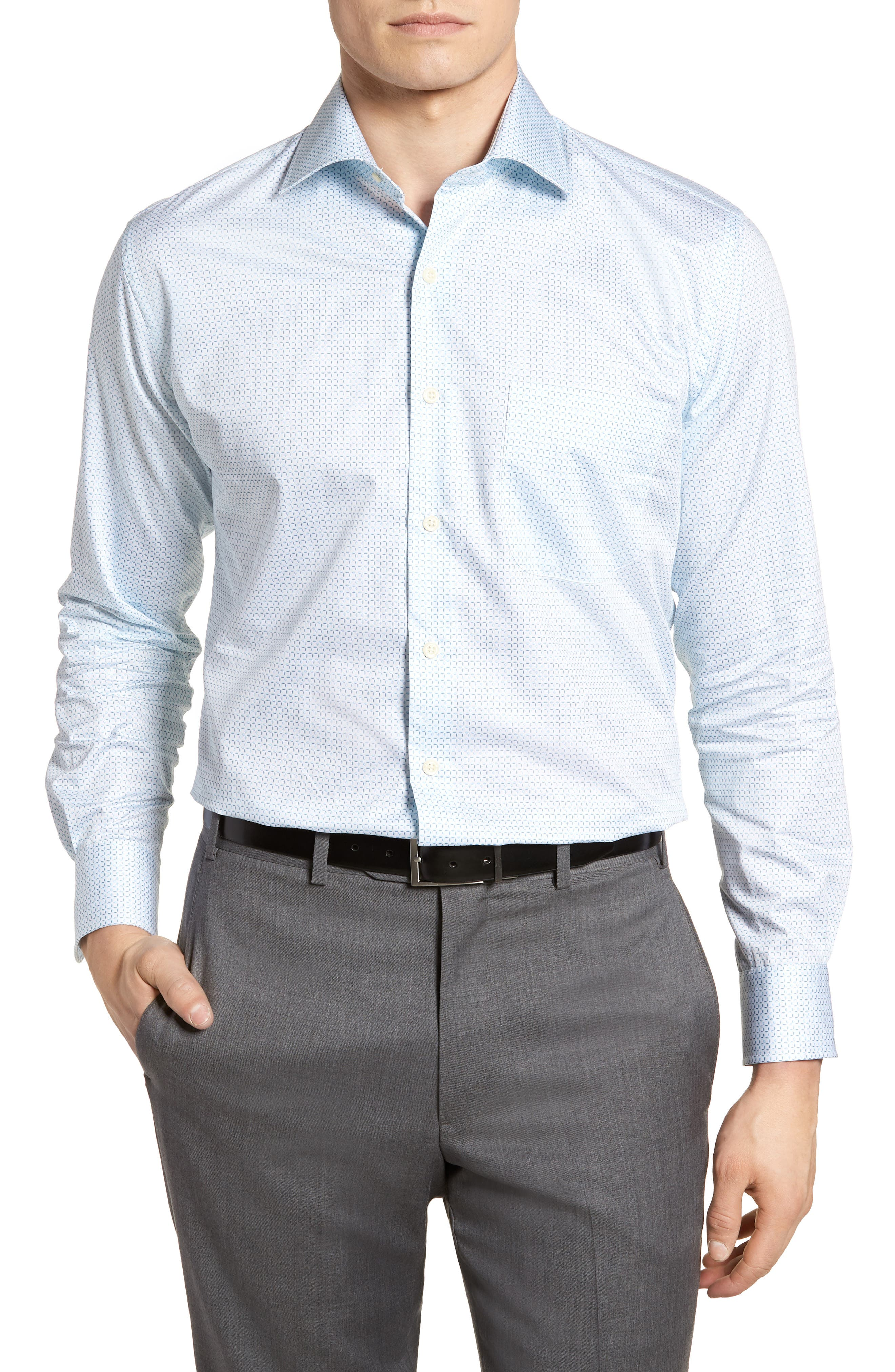 Sand Dollar Shore Microcheck Sport Shirt,                         Main,                         color, Heron Blue