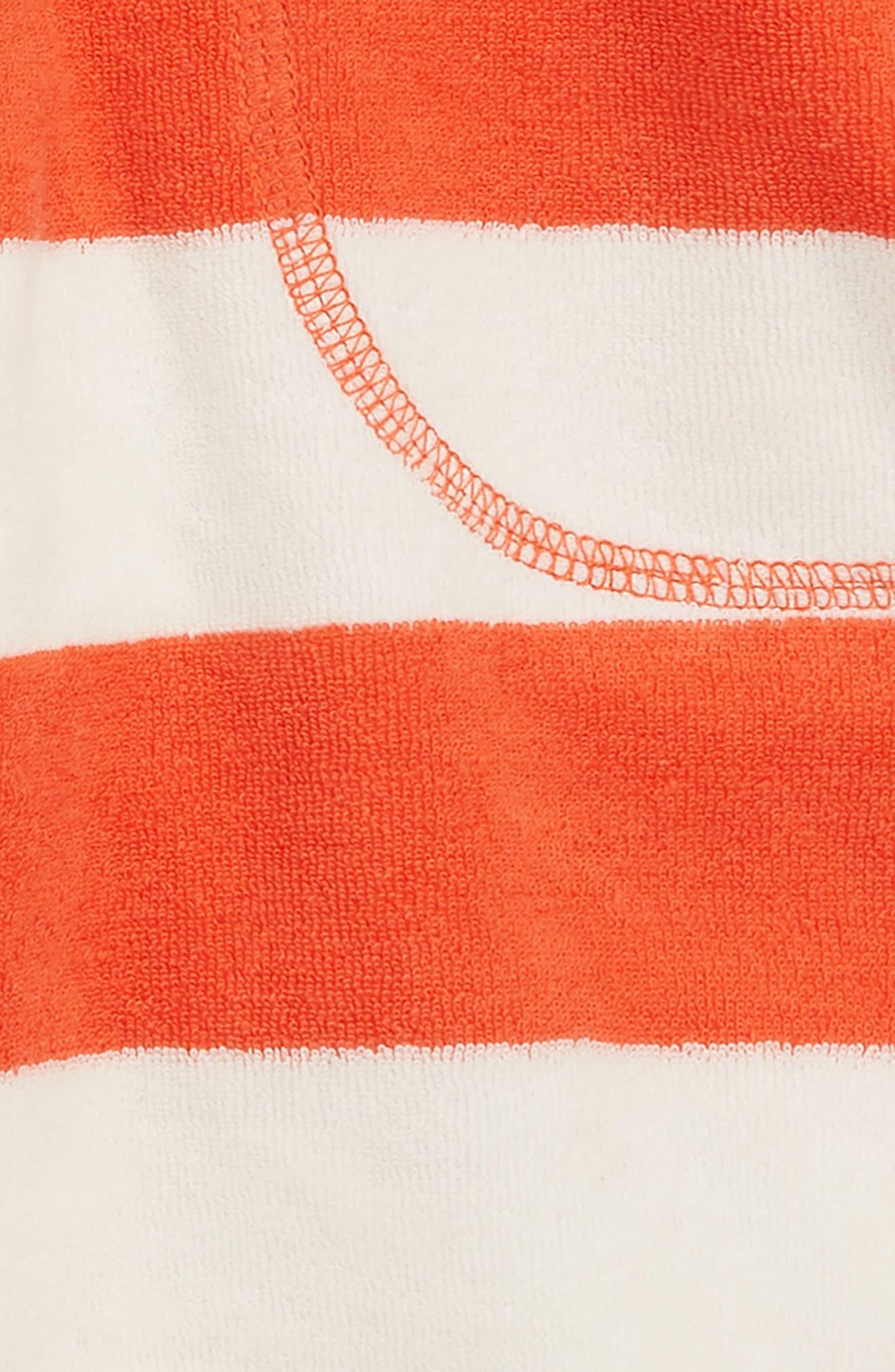 Stripe Toweling Shorts,                             Alternate thumbnail 2, color,                             Melon Crush Red/ Ecru