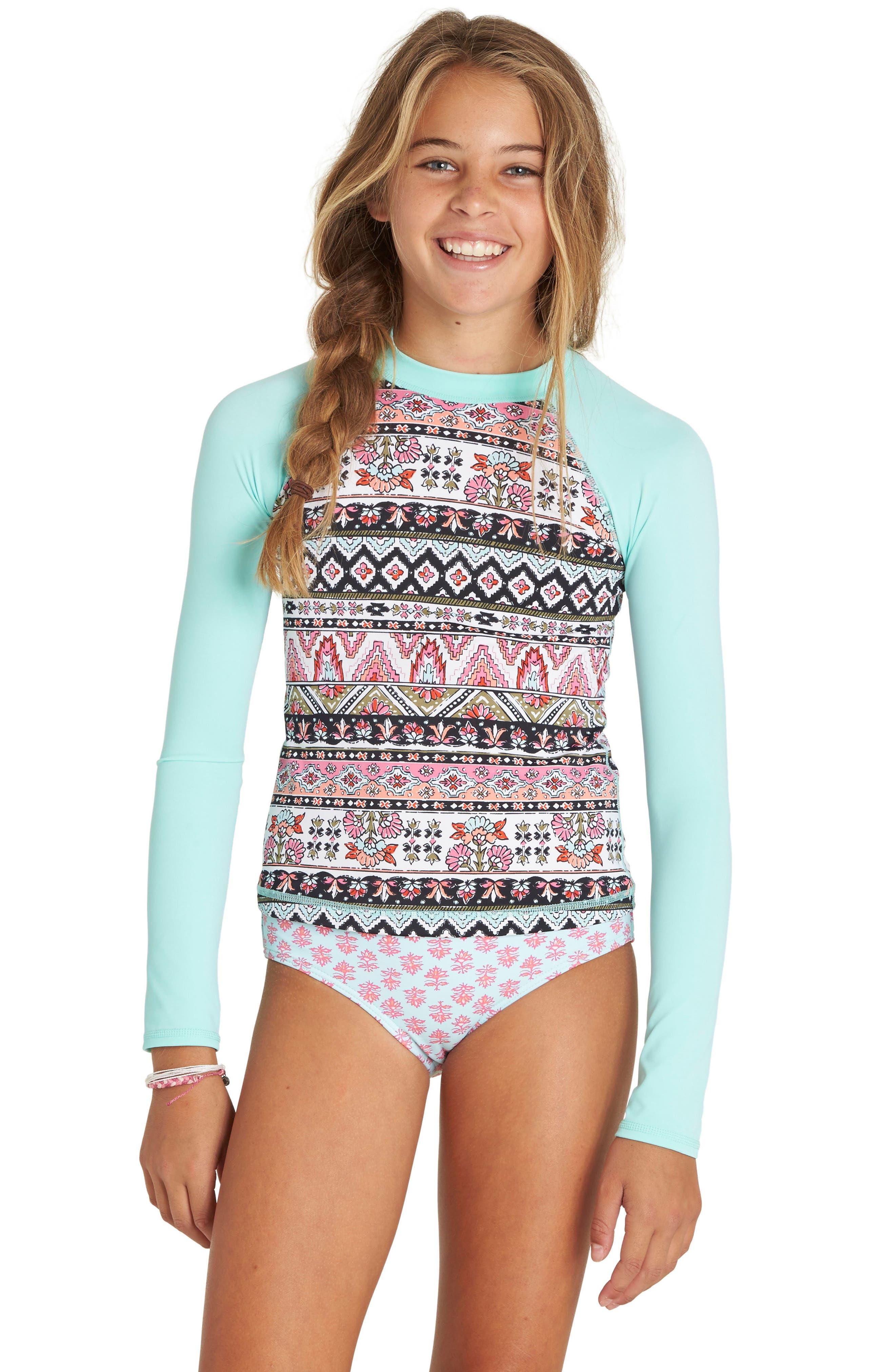 Moon Tribe Two-Piece Rashguard Swimsuit,                             Alternate thumbnail 3, color,                             Multi