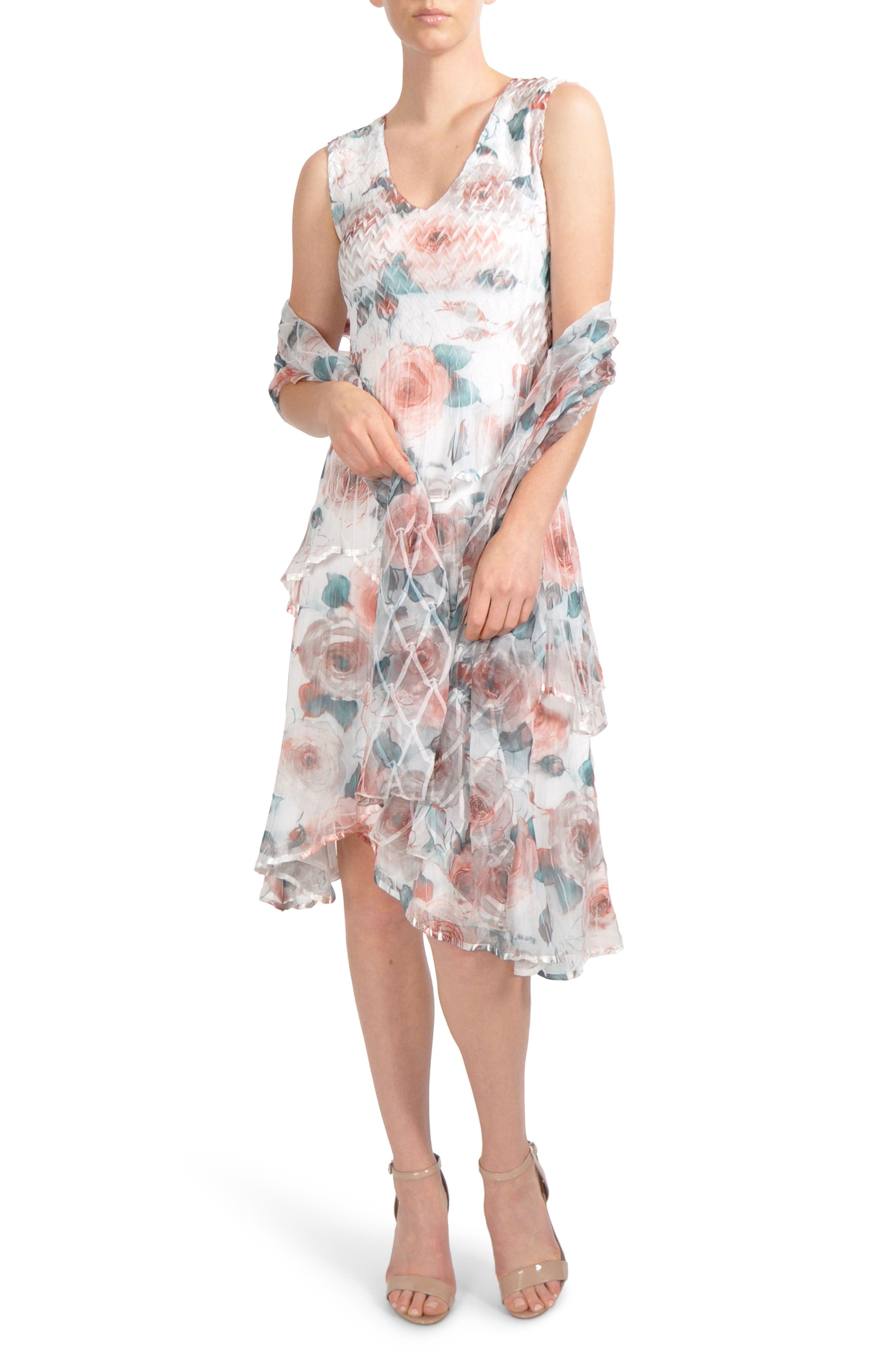 Tiered Chiffon Dress with Wrap,                             Alternate thumbnail 2, color,                             Rose Vine