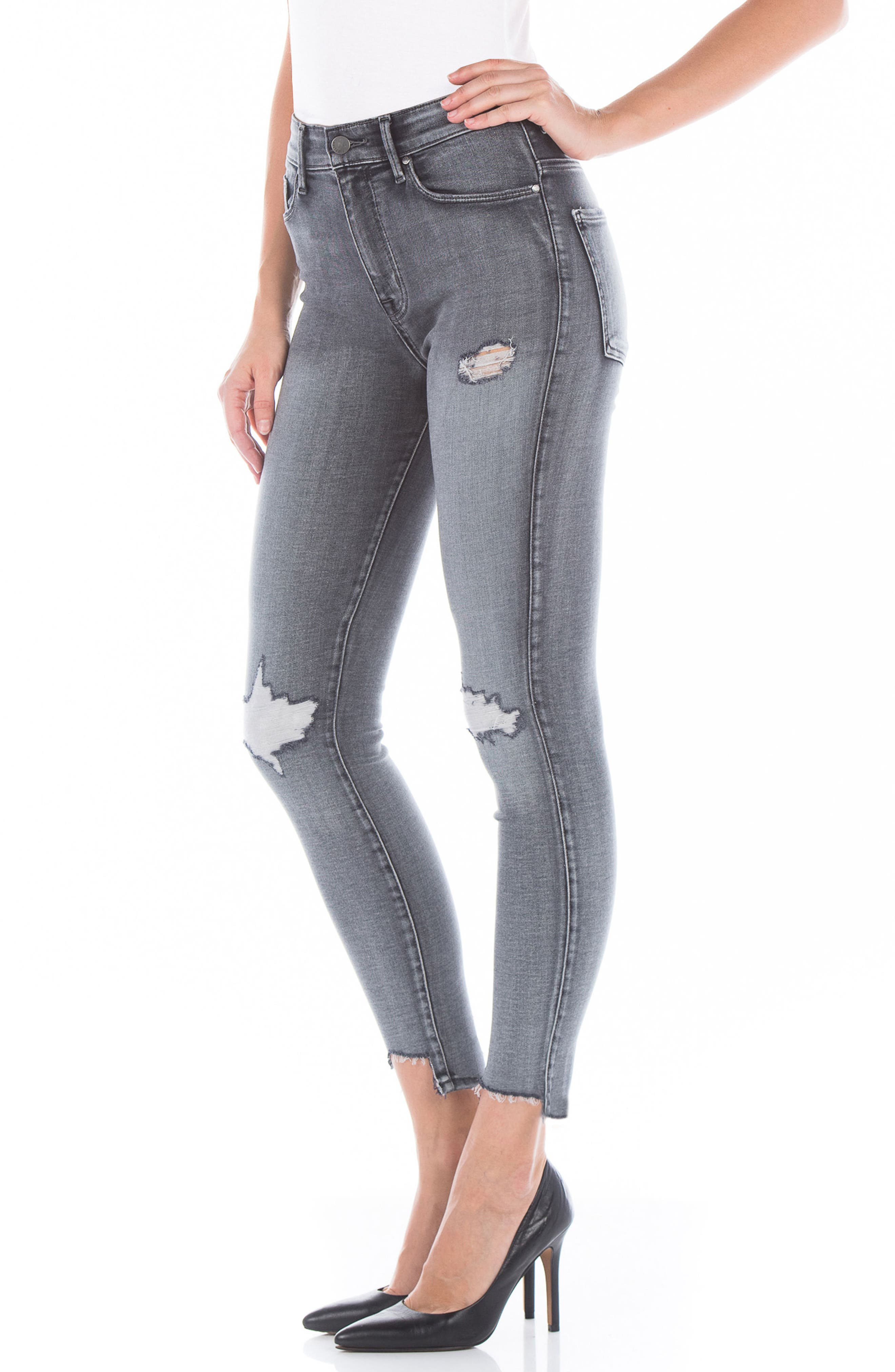 Alternate Image 3  - Fidelity Denim Luna High Waist Distressed Skinny Jeans (Wiseman)