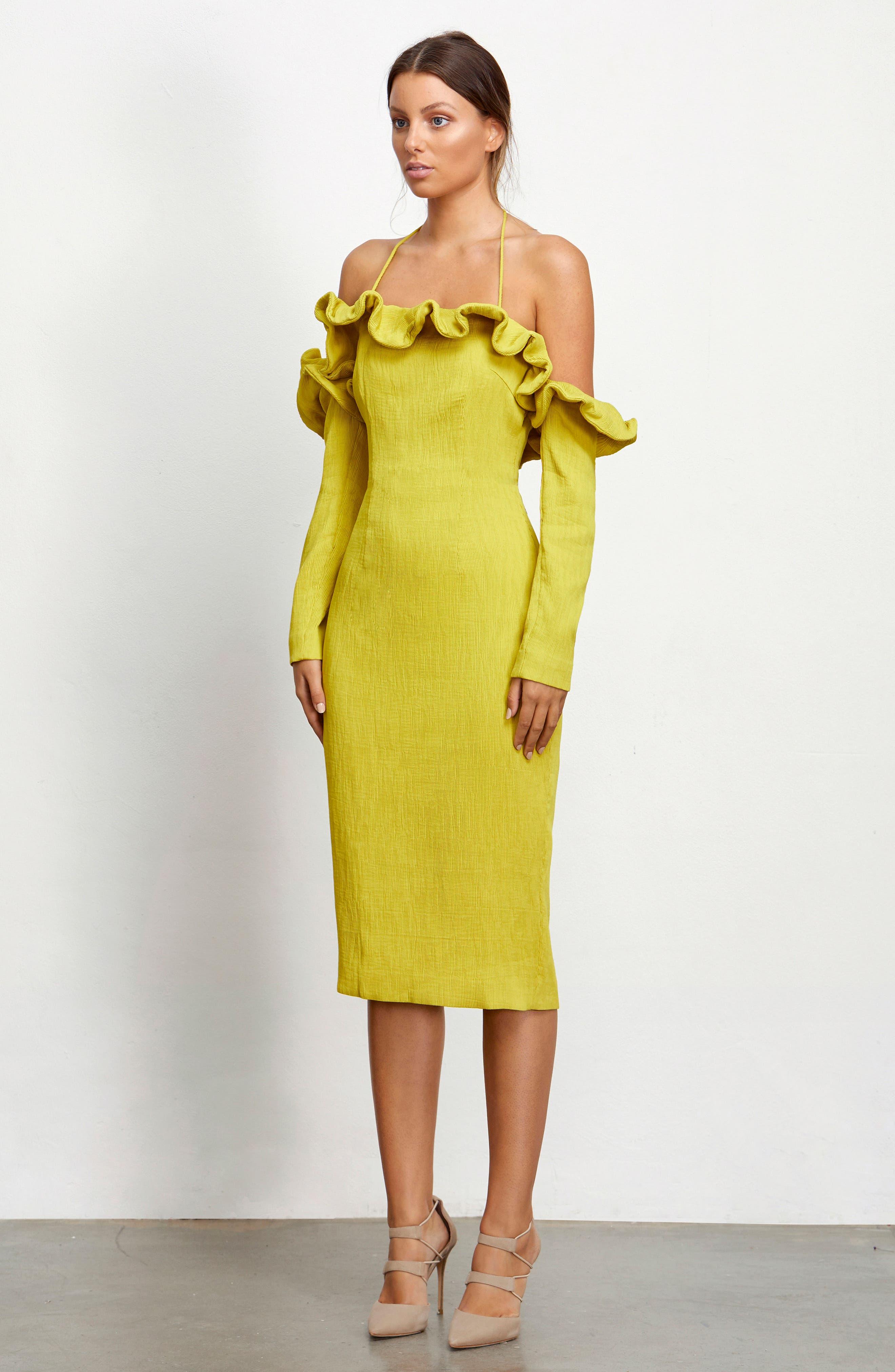 Avon Cold Shoulder Dress,                             Alternate thumbnail 8, color,                             Chartreuse