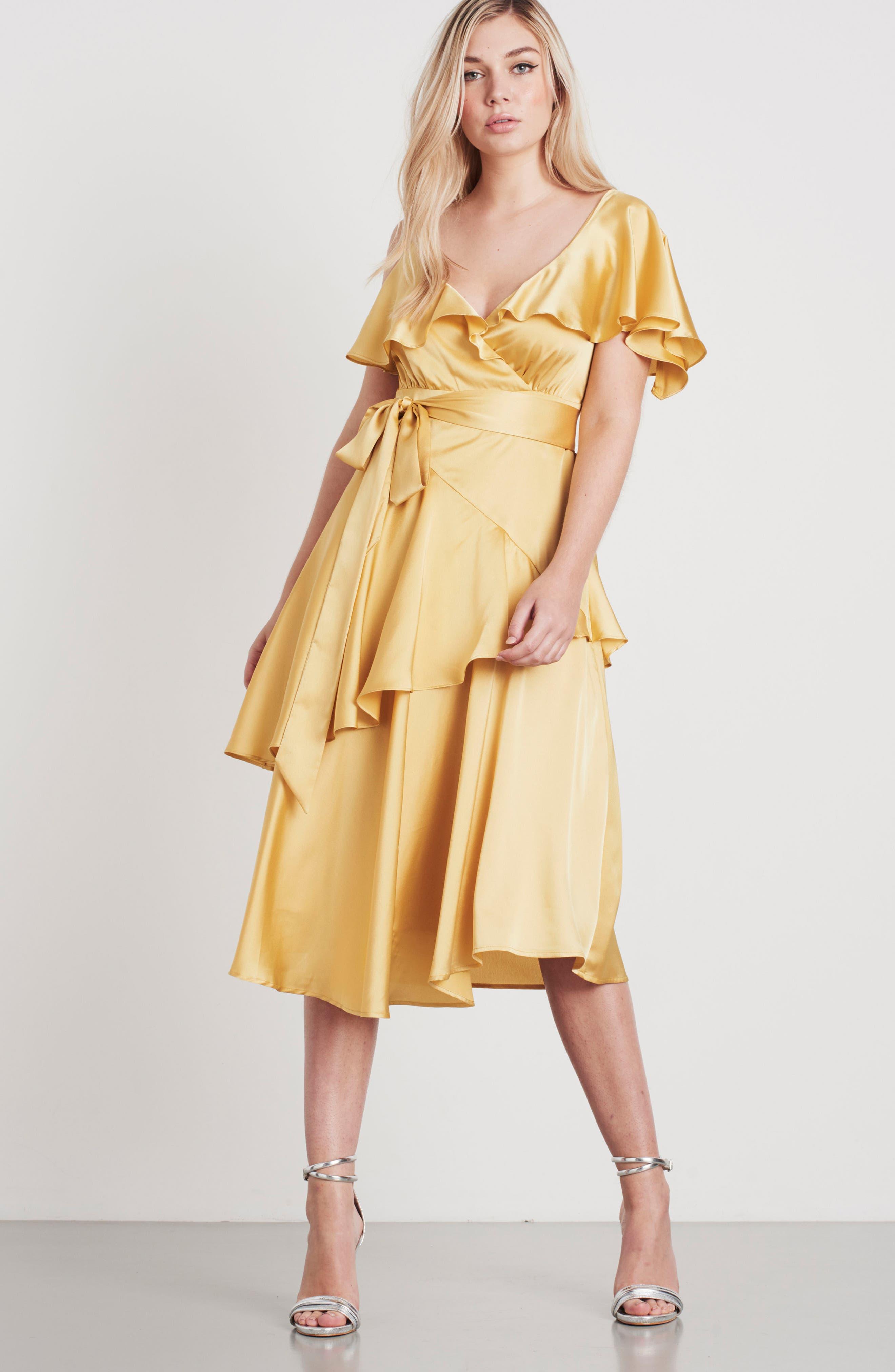 Deconstructed Tea Dress,                             Alternate thumbnail 2, color,                             Yellow