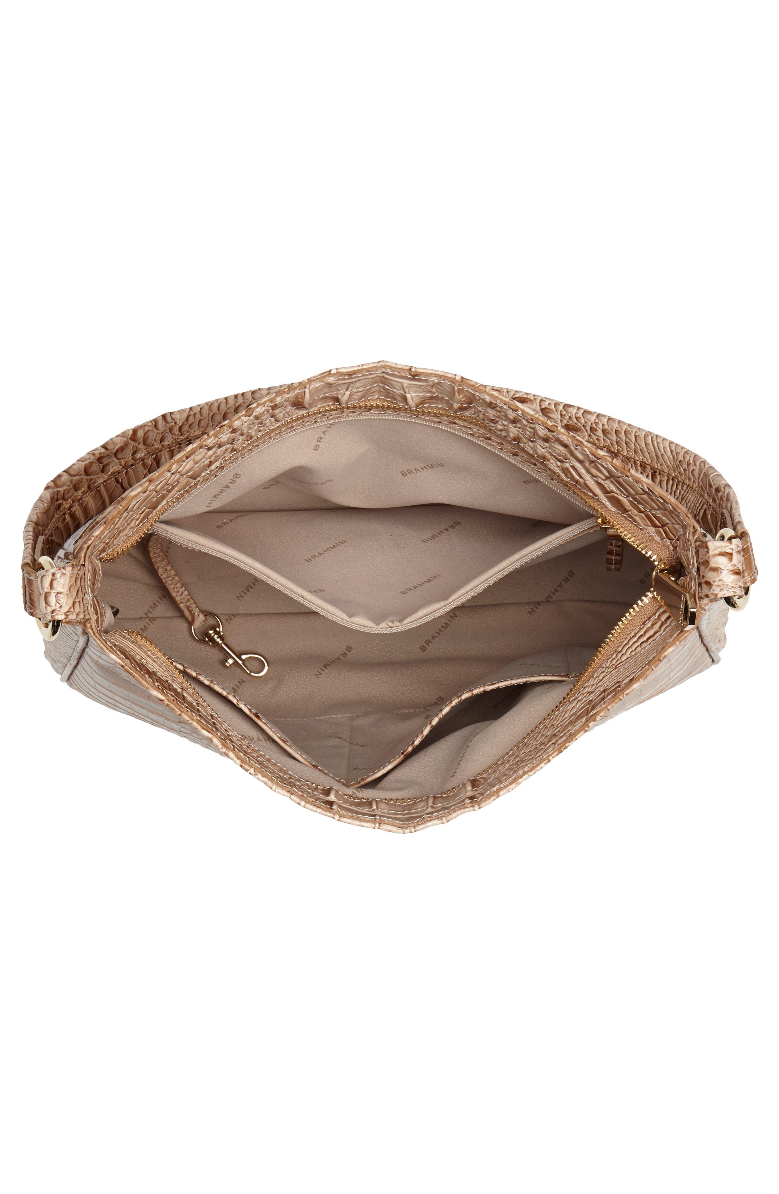 Nadia Croc Embossed Leather Shoulder Bag,                             Alternate thumbnail 4, color,                             Morel