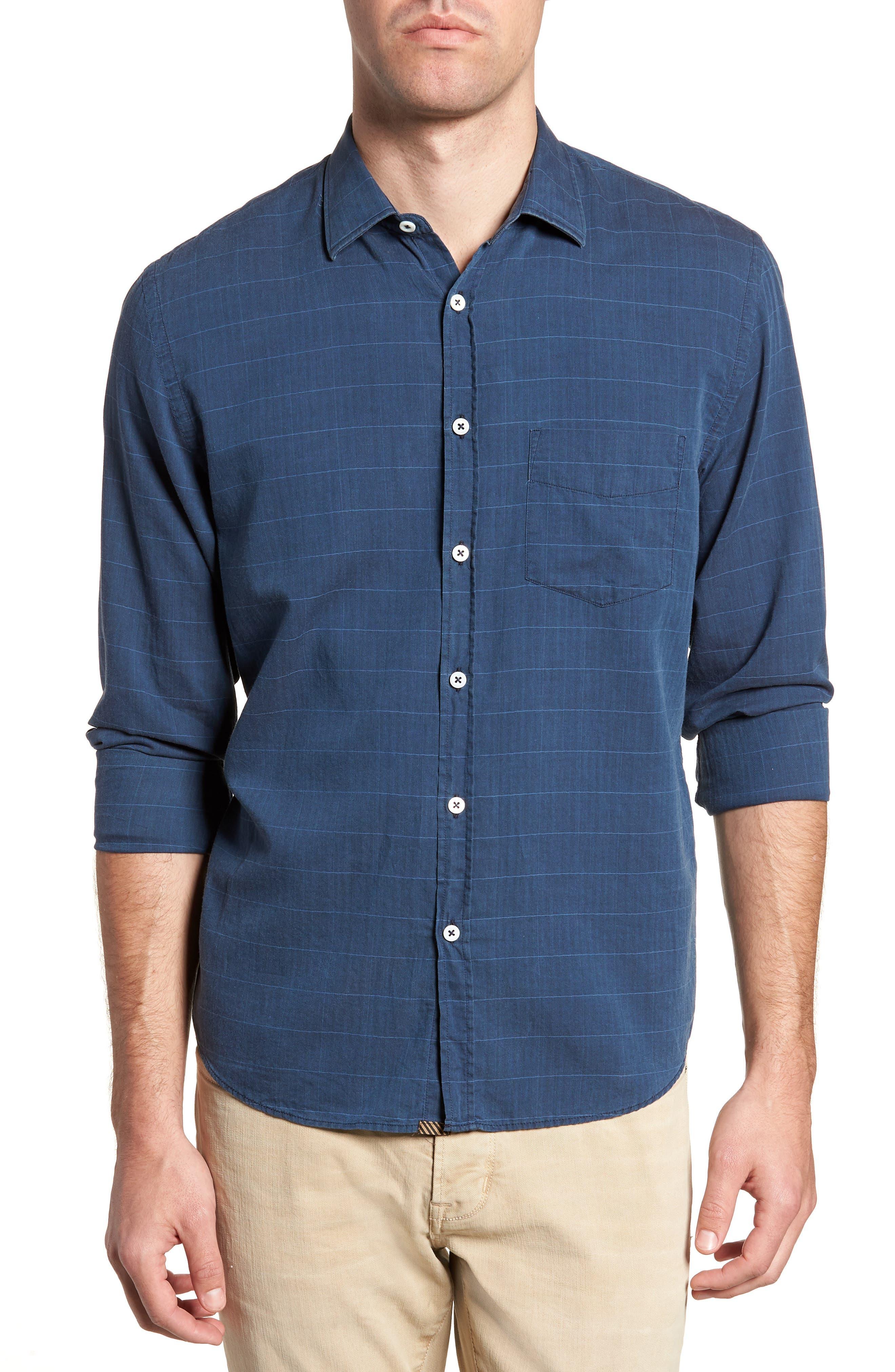 John Standard Fit Windowpane Sport Shirt,                         Main,                         color, Indigo