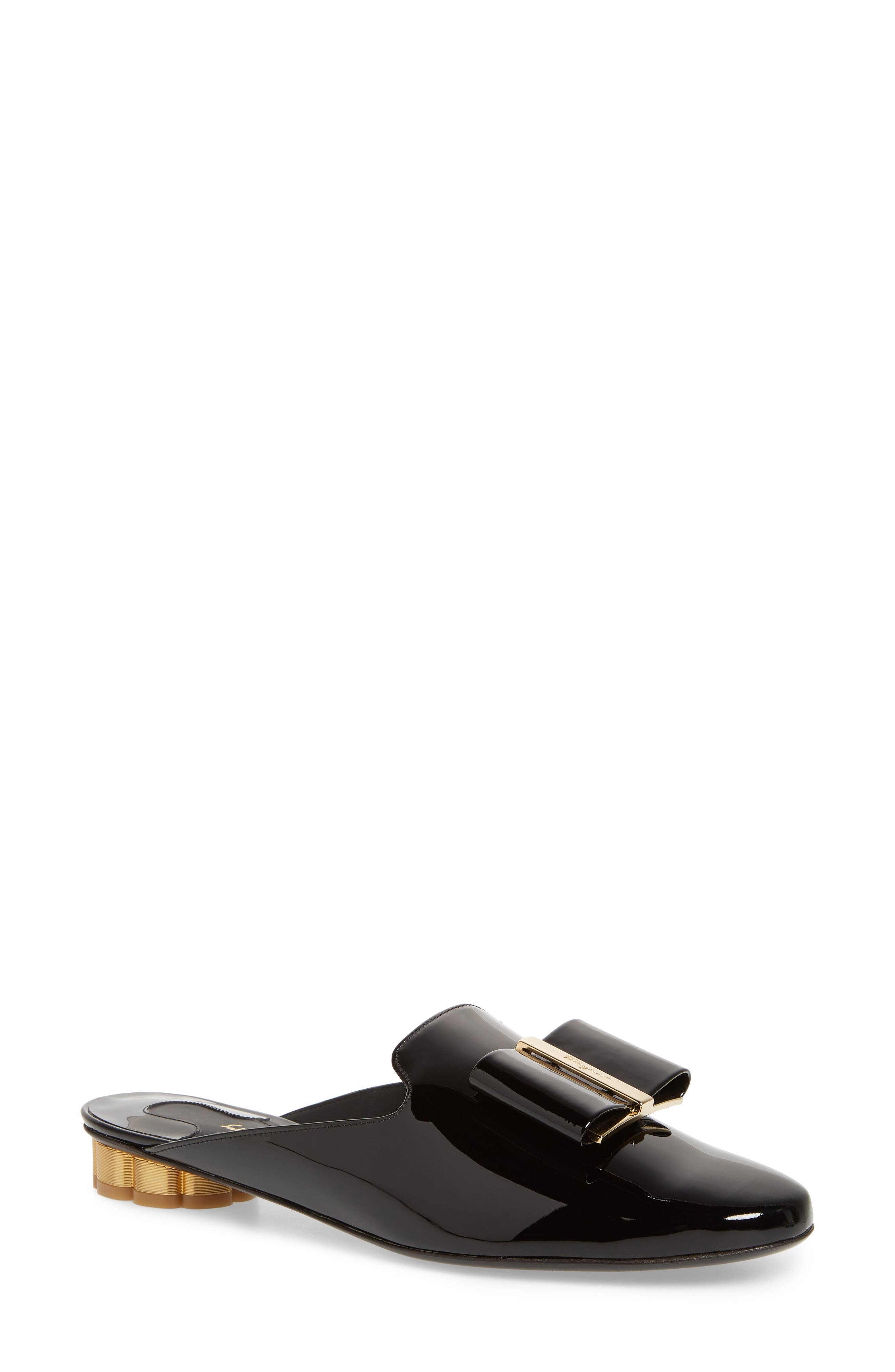 Sciacca Bow Loafer Mule,                             Main thumbnail 1, color,                             Black Patent