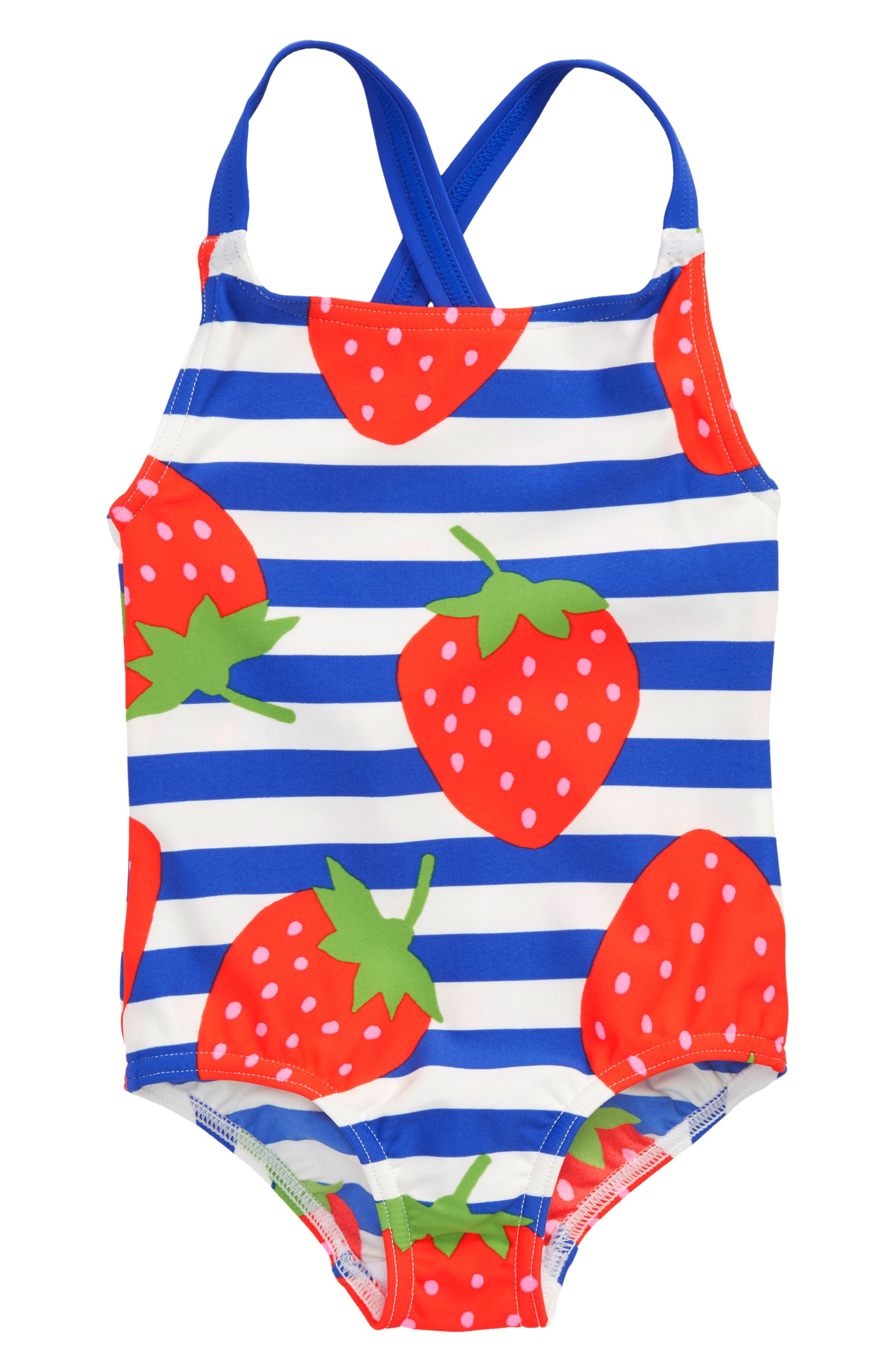 One-Piece Swimsuit,                             Main thumbnail 1, color,                             Ivory Strawberry Stripe Str
