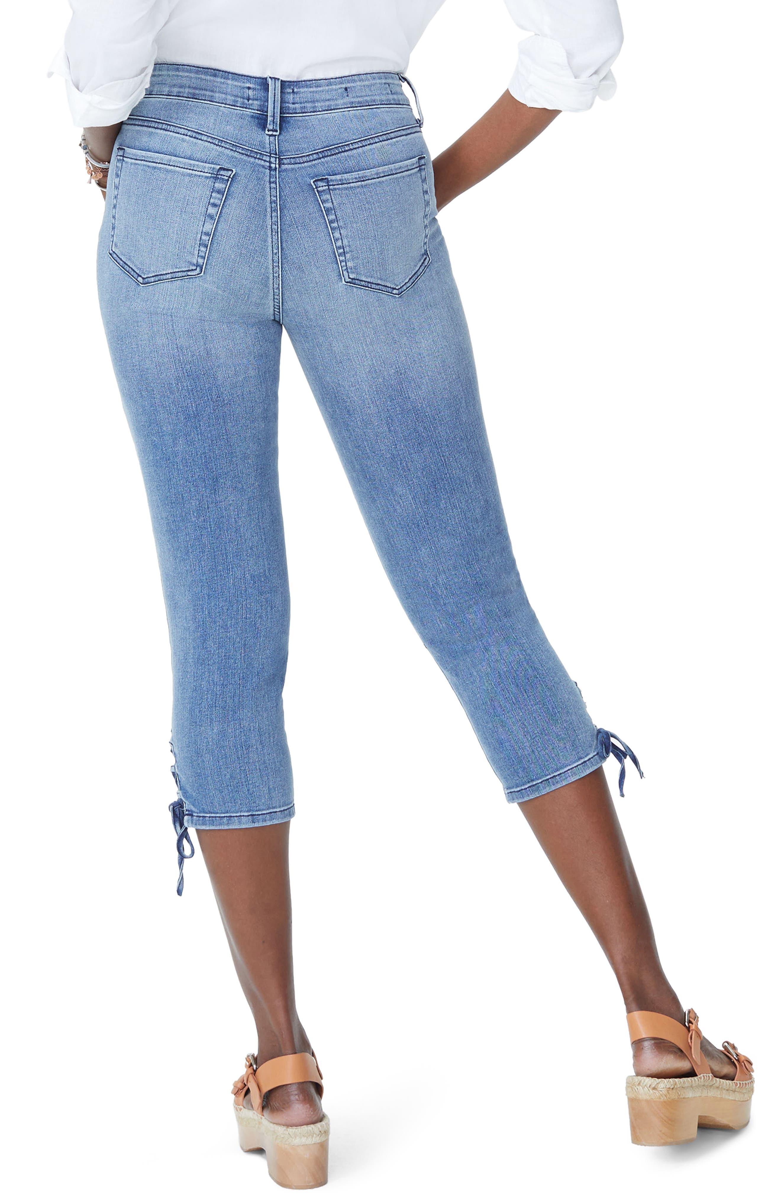 Lace Up Hem Capri Jeans,                             Alternate thumbnail 2, color,                             Point Dume