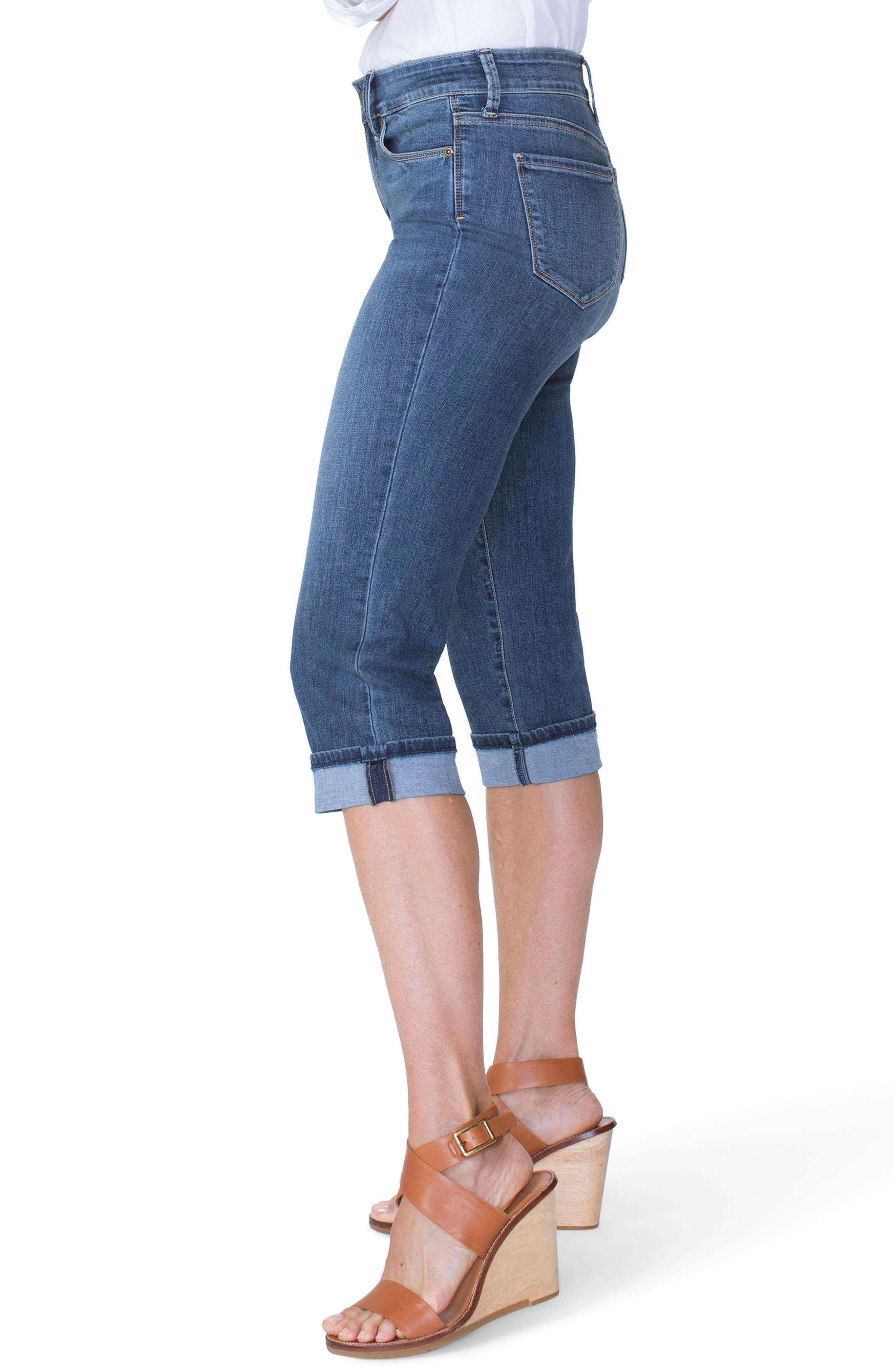 Marilyn Cuffed Stretch Crop Jeans,                             Alternate thumbnail 3, color,                             Zimbali
