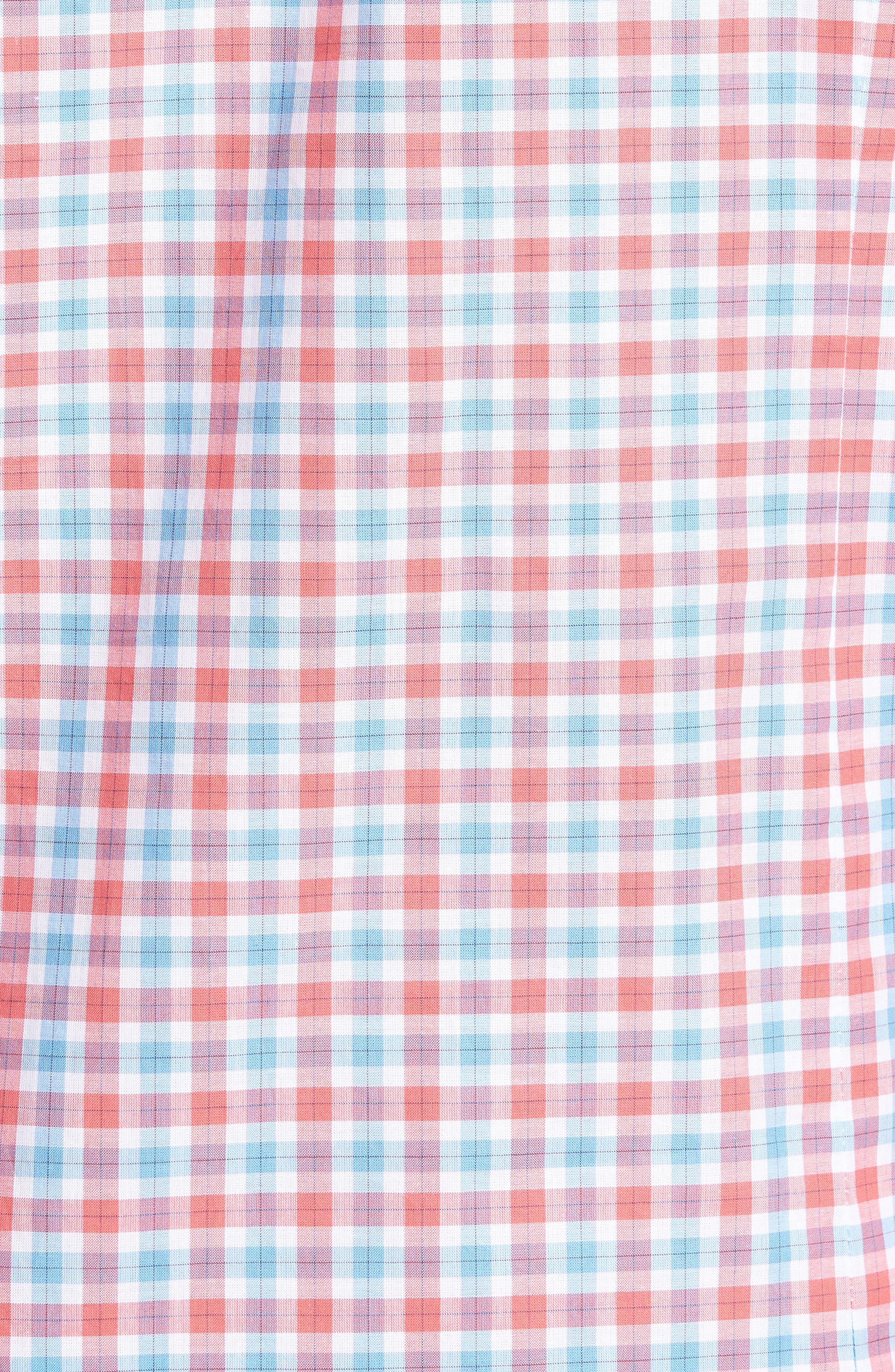 Slim Fit Check Sport Shirt,                             Alternate thumbnail 5, color,                             Medium Orange