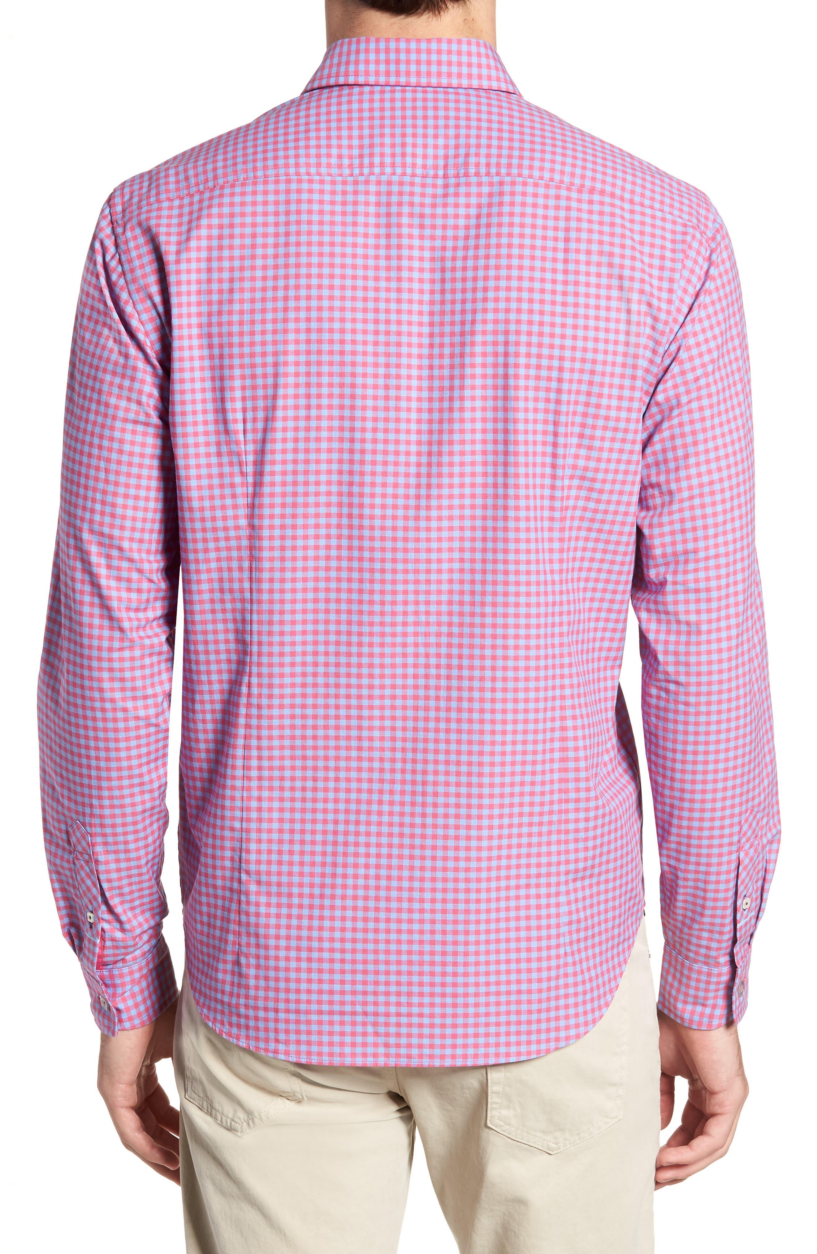 Slim Fit Gingham Sport Shirt,                             Alternate thumbnail 3, color,                             Light Red