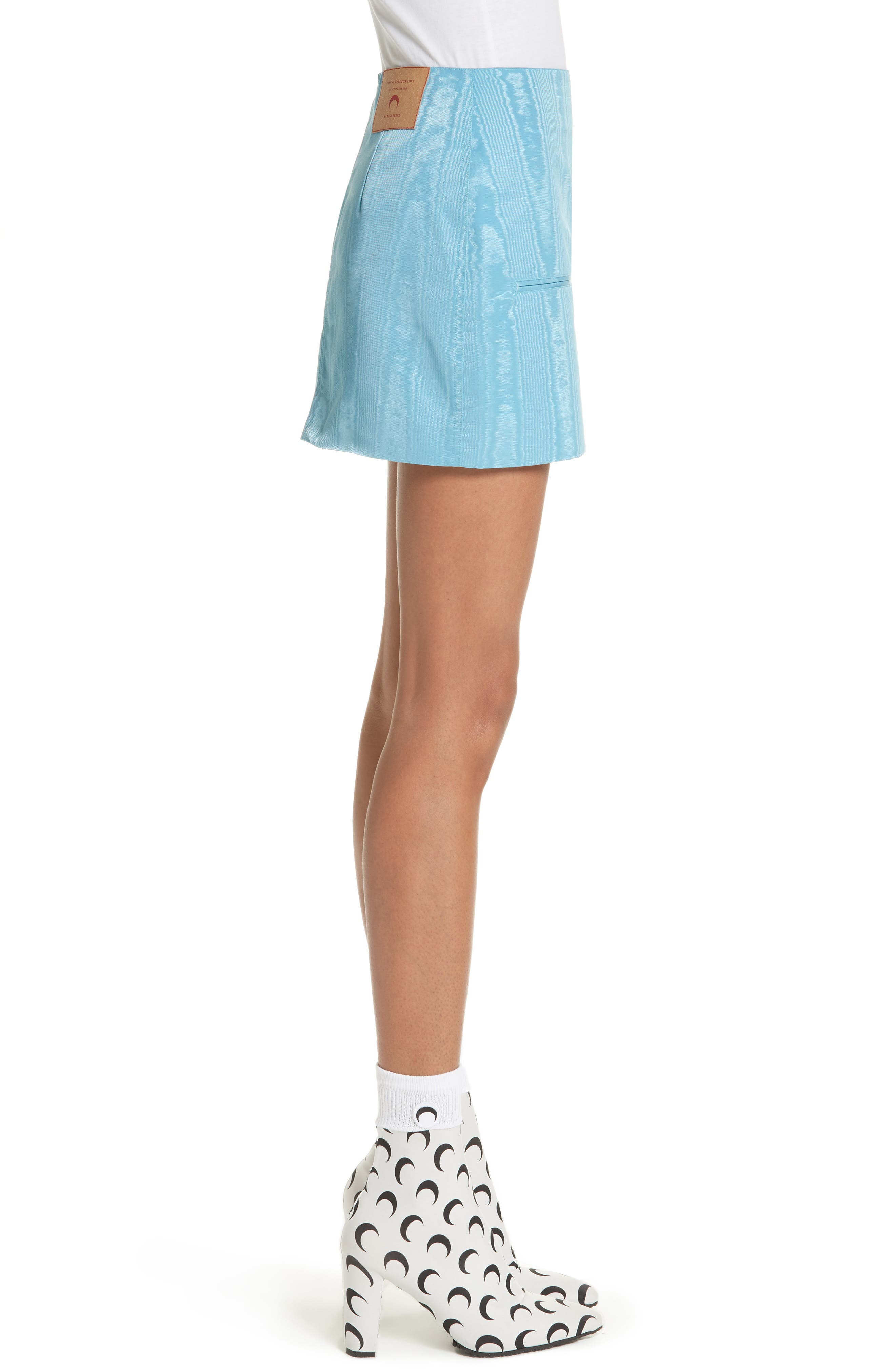 Moiré Miniskirt,                             Alternate thumbnail 3, color,                             Blue