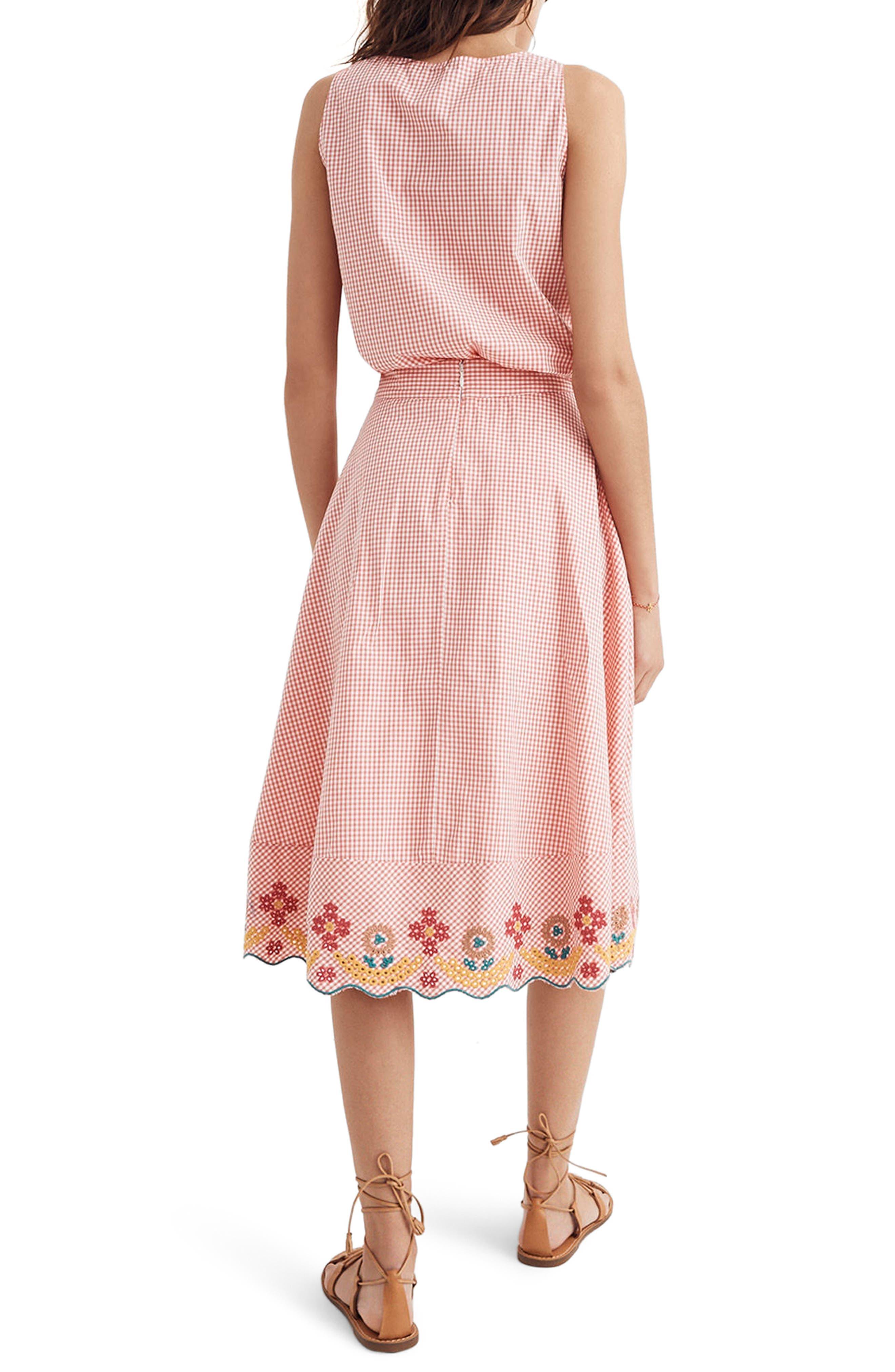 Embroidered Gingham Circle Skirt,                             Alternate thumbnail 2, color,                             Gingham Sunset