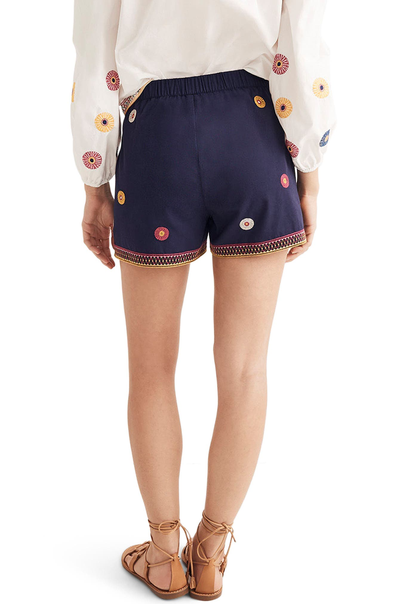 Embroidered Pull-On Shorts,                             Alternate thumbnail 2, color,                             Midnight