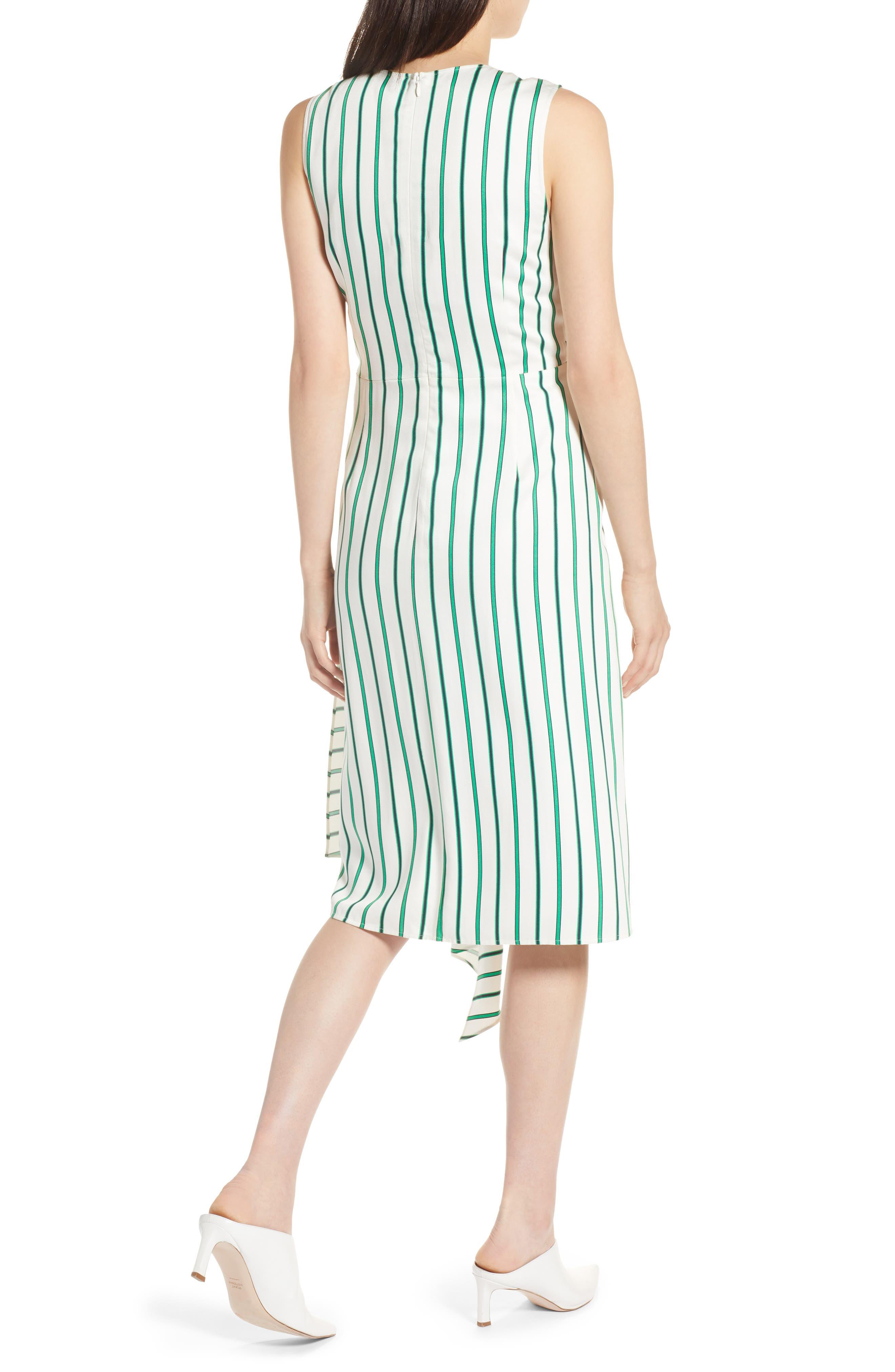 Draped Faux Wrap Dress,                             Alternate thumbnail 2, color,                             Ivory- Green Stripe