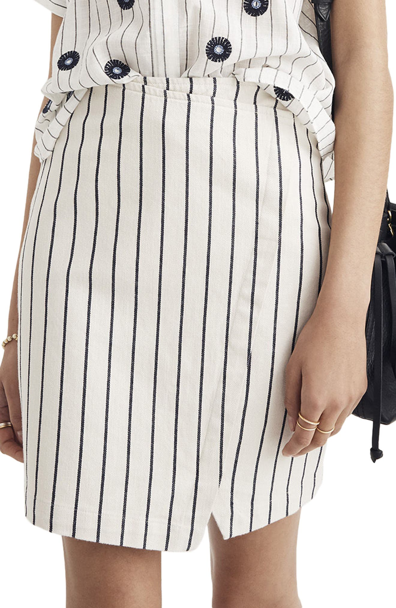 Alternate Image 1 Selected - Madewell Stripe Faux Wrap Skirt