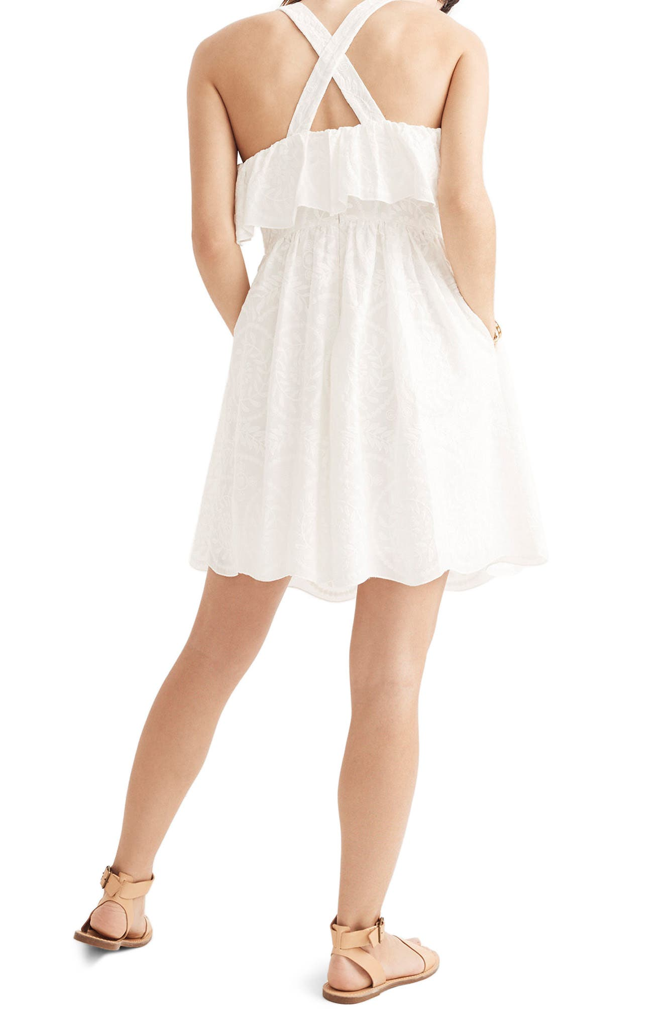 Embroidered Apron Ruffle Dress,                             Alternate thumbnail 2, color,                             White Wash